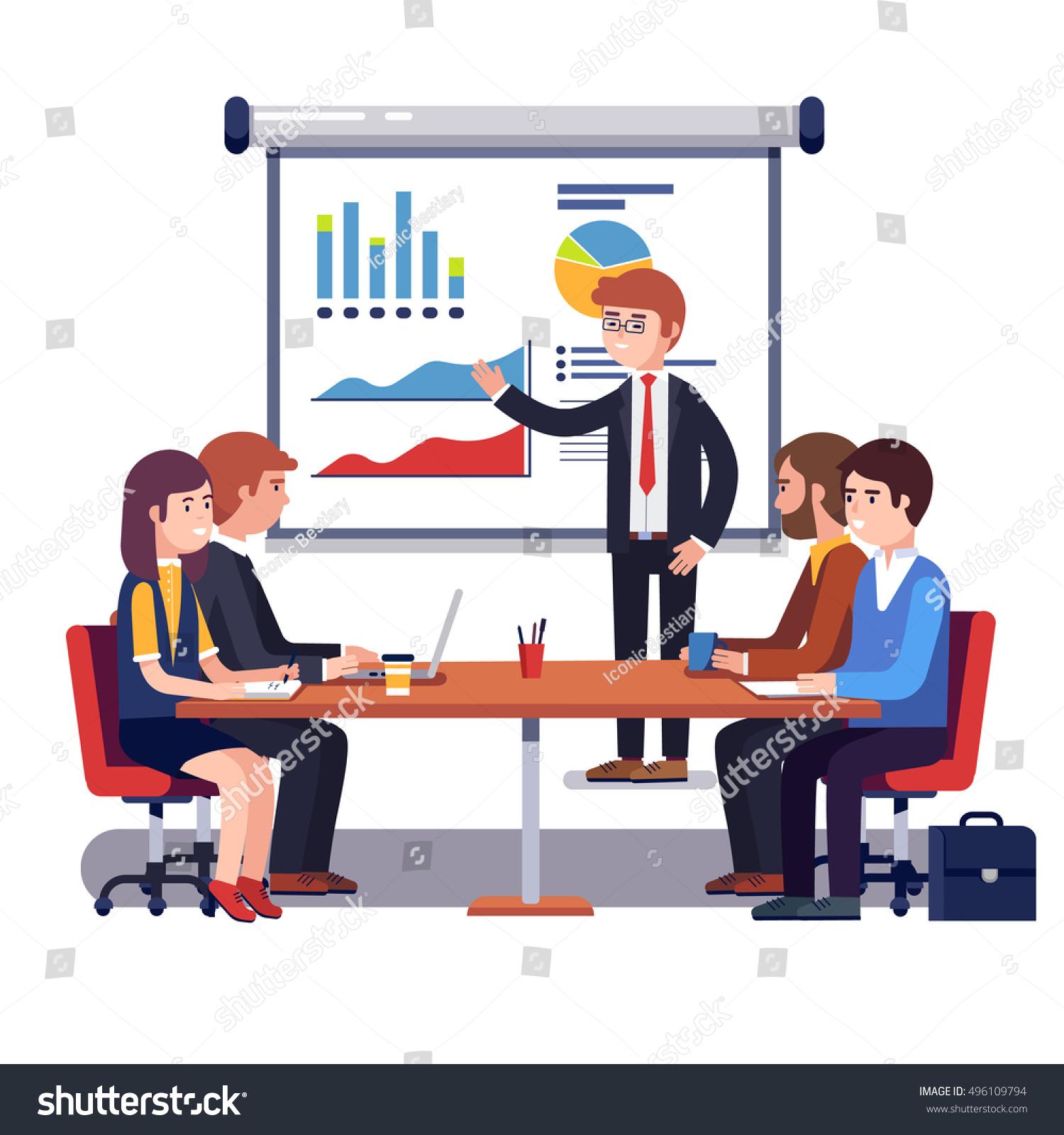 Corporate Business Manager Explaining Quarter Report Stock