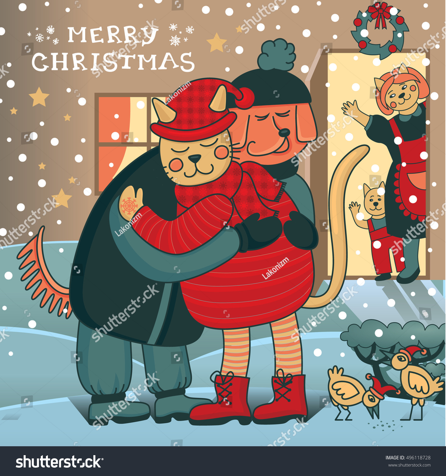 Winter Hugs Merry Christmas Card Two Stock Vector (Royalty Free ...