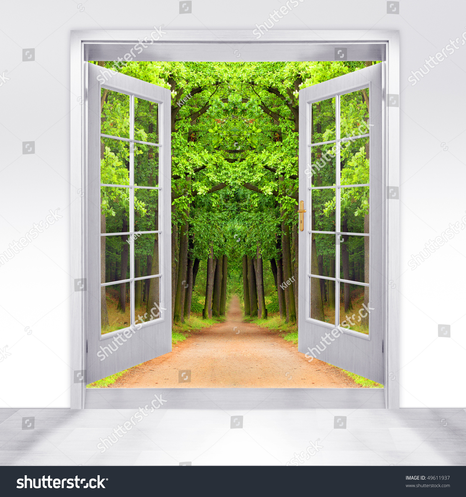 Opened door to early morning in green oak alley - conceptual image - environmental business metaphor  sc 1 st  Shutterstock & Opened Door Early Morning Green Oak Stock Photo 49611937 ... pezcame.com