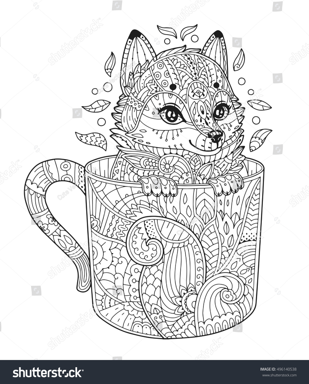 fox cup antistress coloring page stock vector 496140538