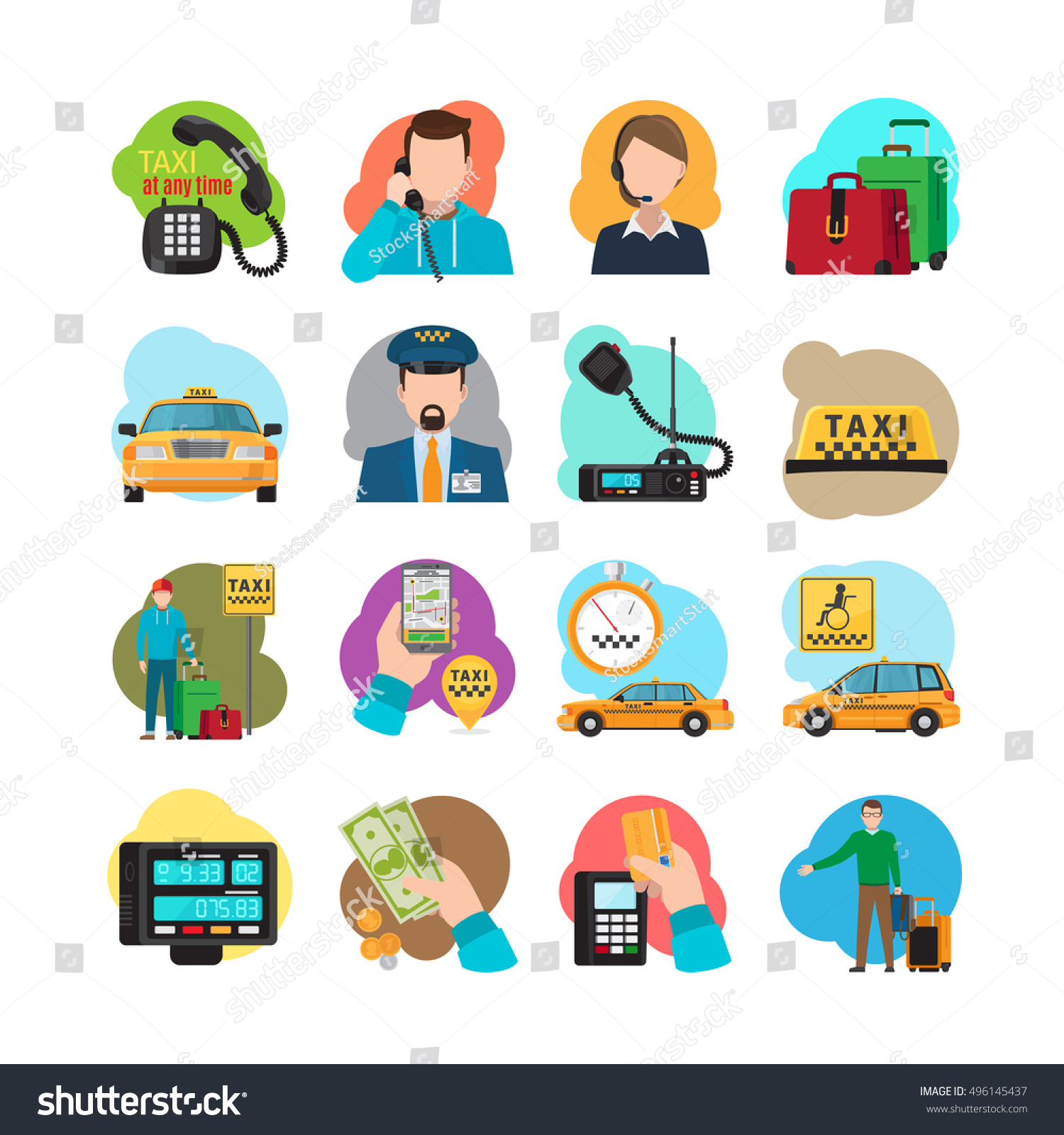Taxi cartoon icons Taxi passenger and driver taxi orange sedan and yellow cab vector illustration