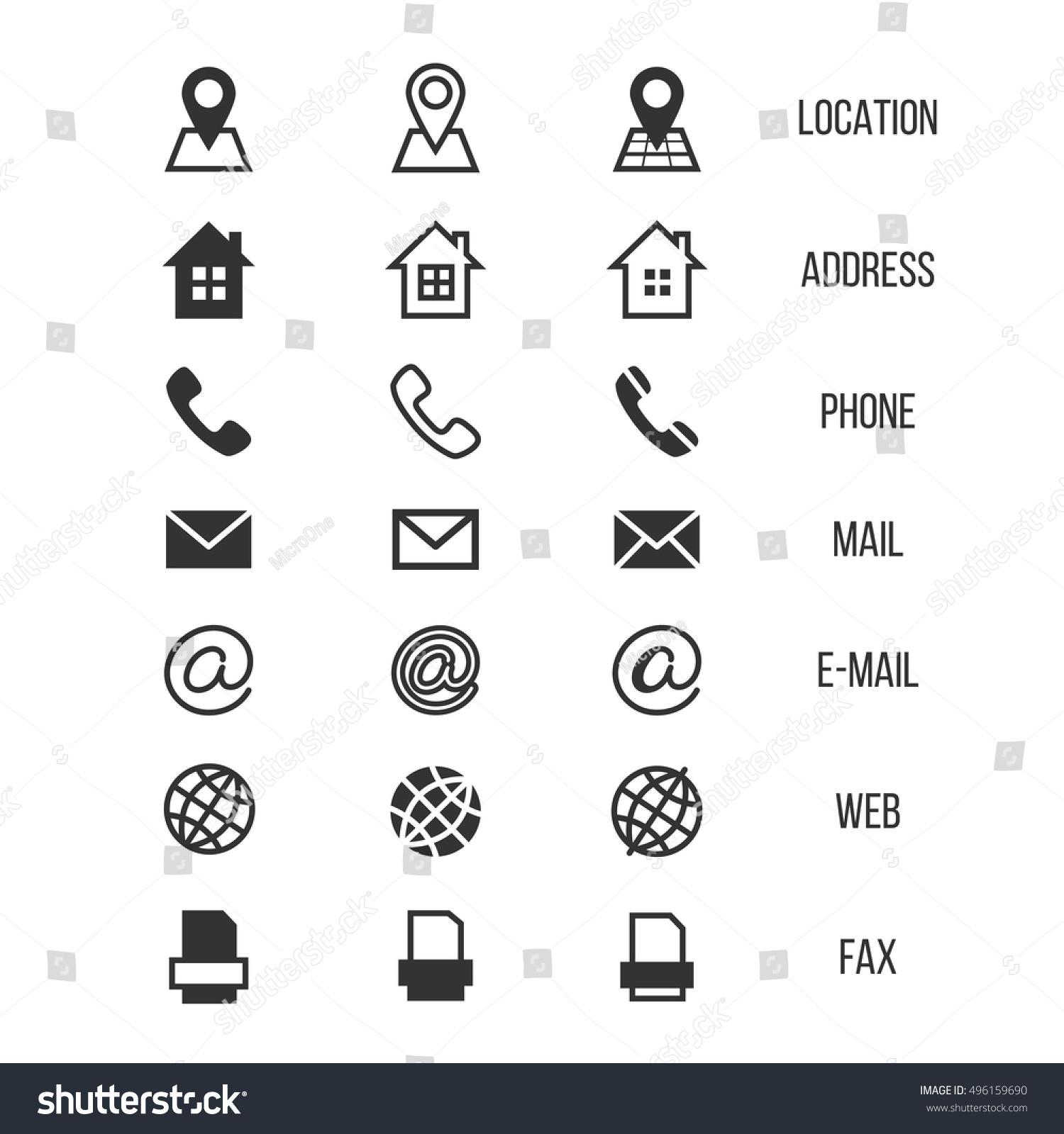 Business Card Vector Icons Home And Phone Address Telephone Fax Web
