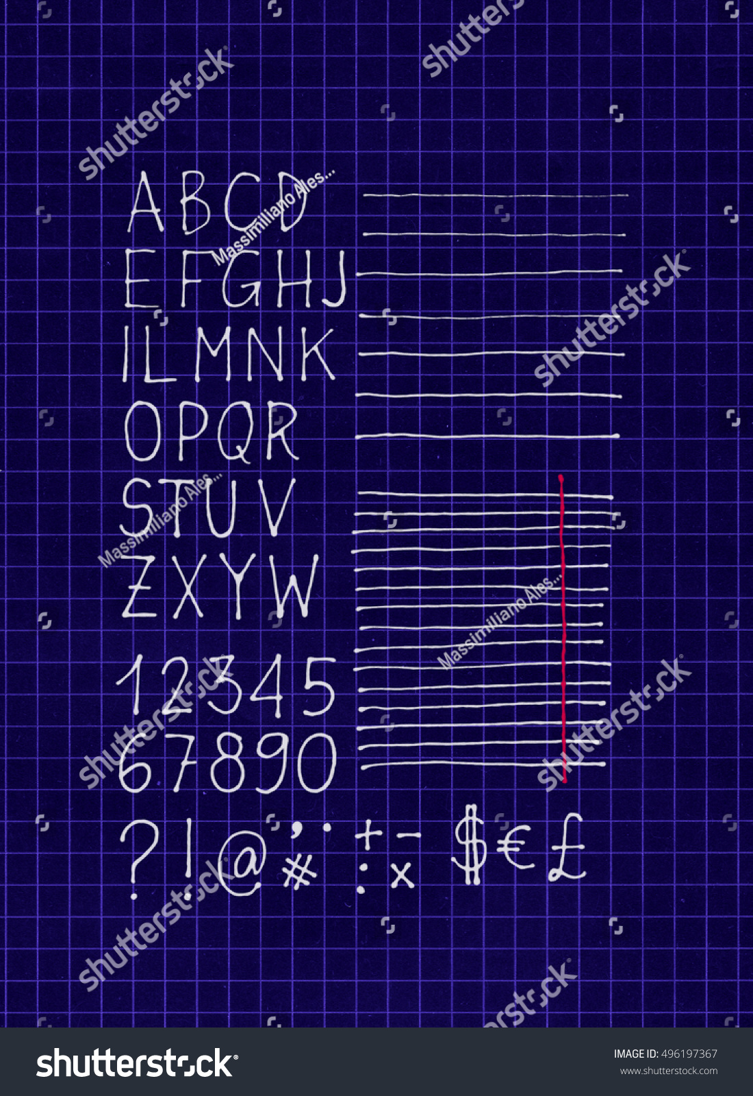 2 d white pen freehand letters numbers stock illustration 496197367 2d white pen freehand letters numbers lines and symbols on blueprint squared paper malvernweather Choice Image