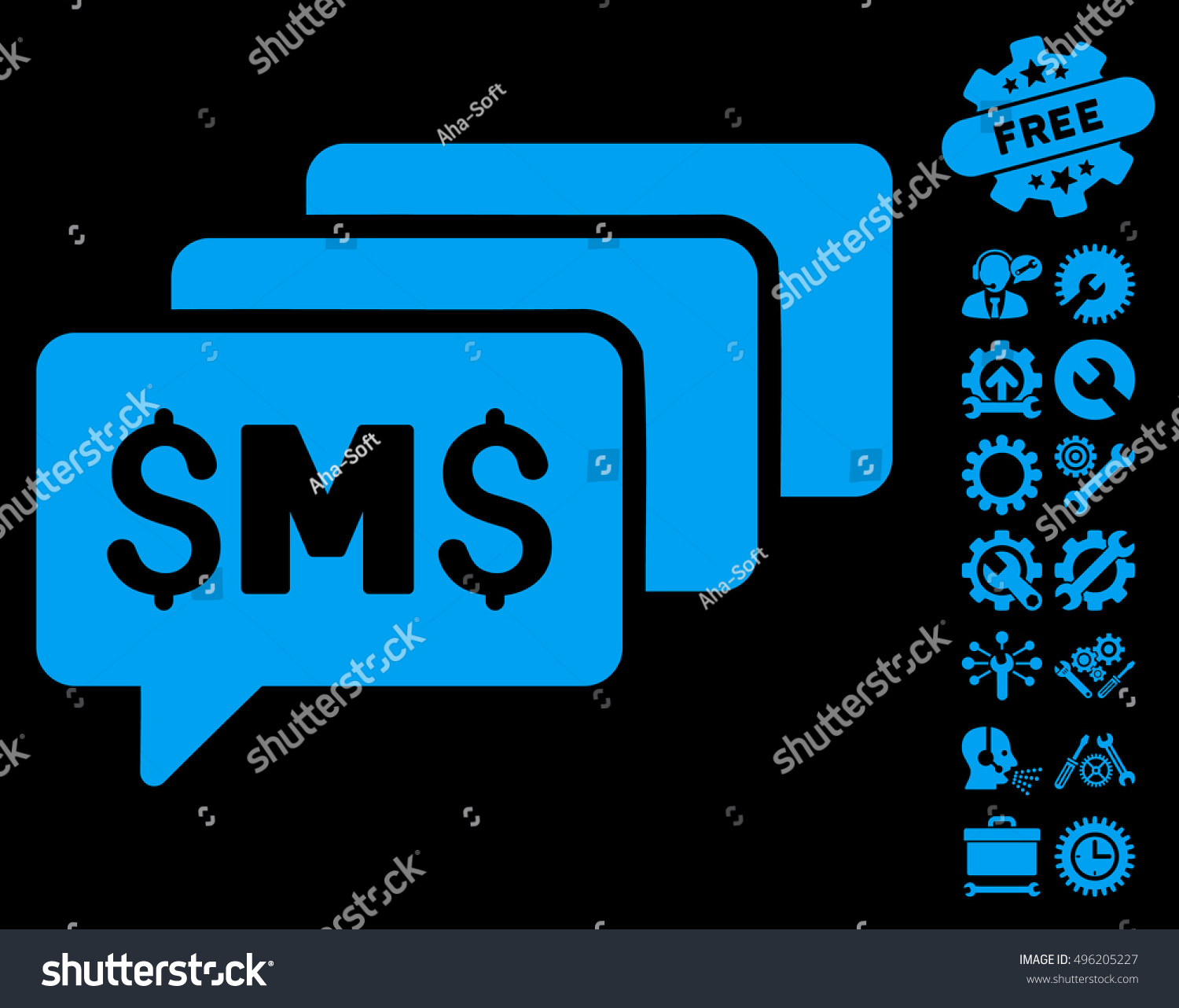 Sms messages icon bonus tools icon stock vector 496205227 sms messages icon with bonus tools icon set vector illustration style is flat iconic symbols biocorpaavc Images