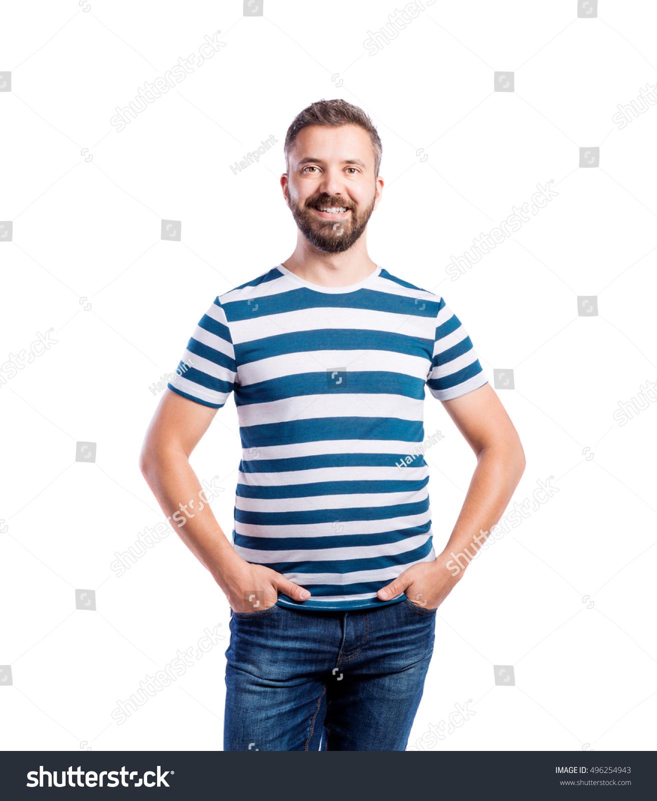 hipster man blue striped tshirt studio stock photo. Black Bedroom Furniture Sets. Home Design Ideas