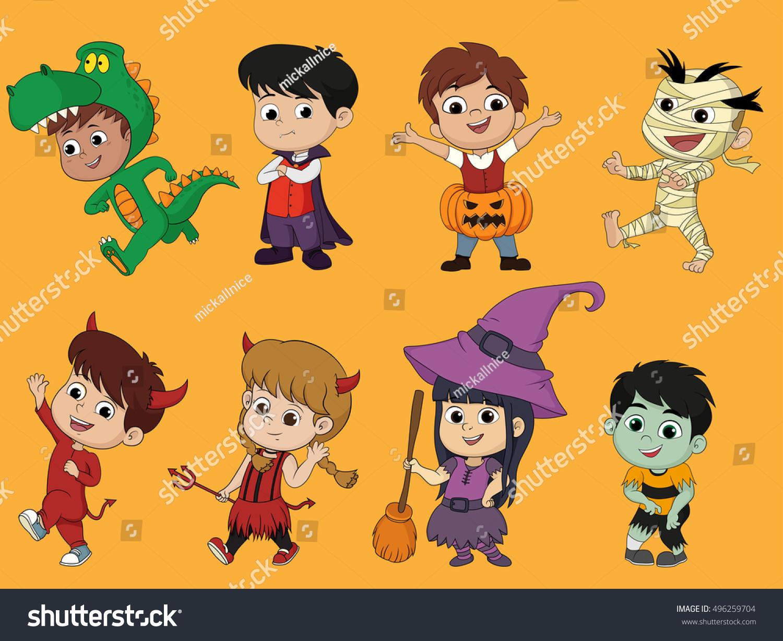happy halloween set cute cartoon children stock vector 496259704