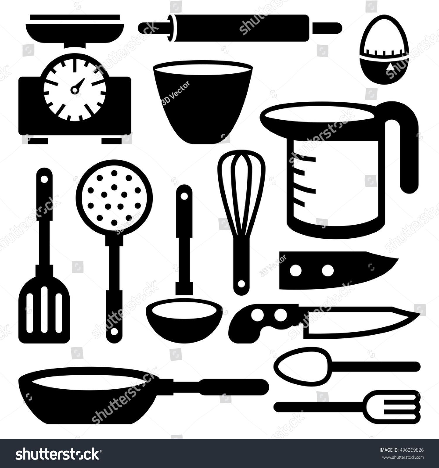 Doodle Icons. Kitchen Accessories And Tools. Vector Illustration