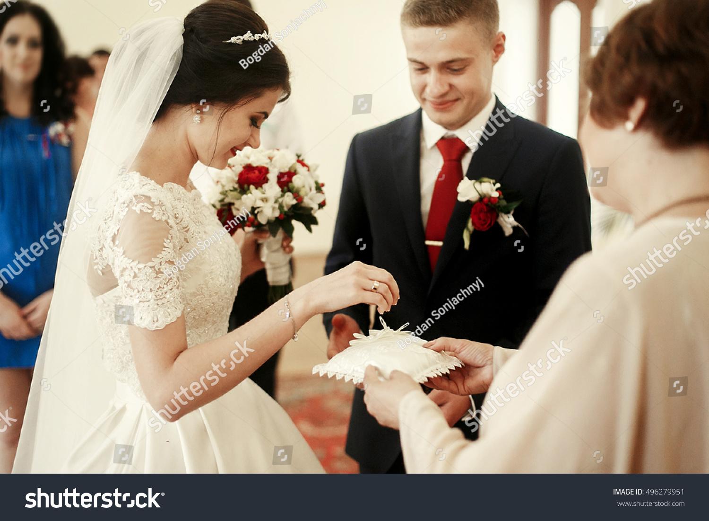 Newlywed Bride Groom Exchanging Wedding Rings Stock Photo 496279951