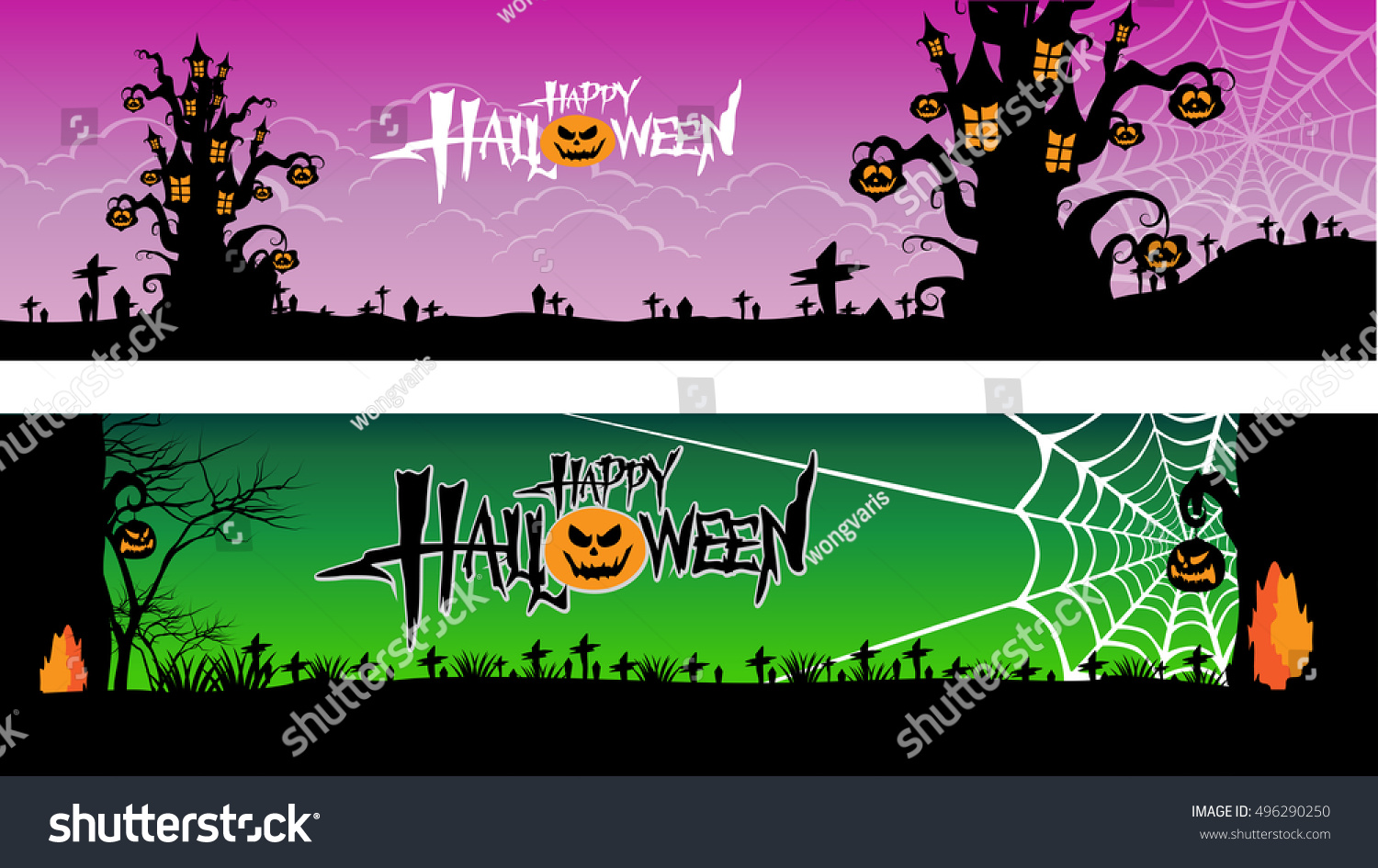 Halloween Banner Set Pumpkin Castle Tree Stock Vector 496290250 ...