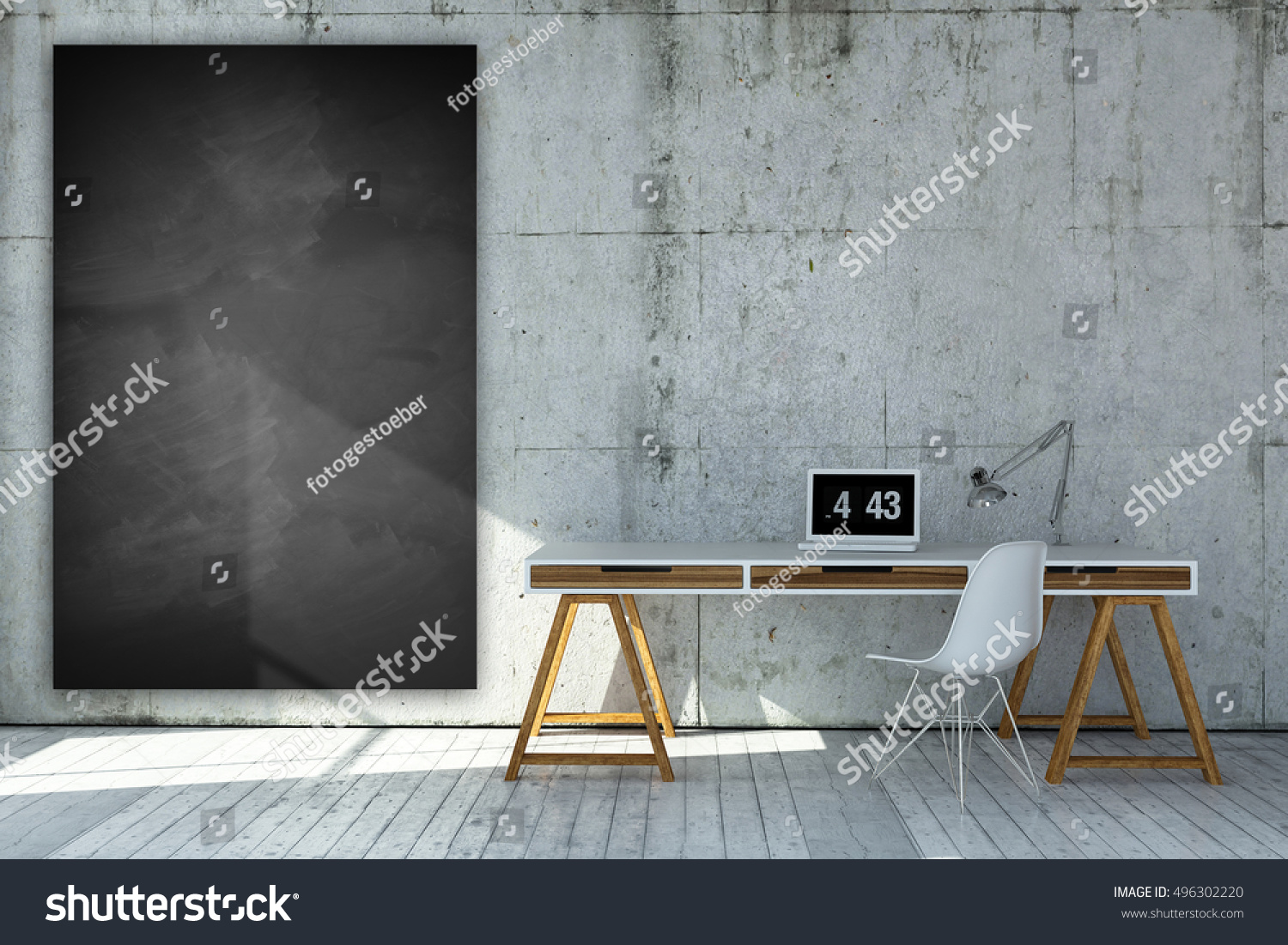 3D Rendered Industrial Style Workplace With Empty Chalkboard