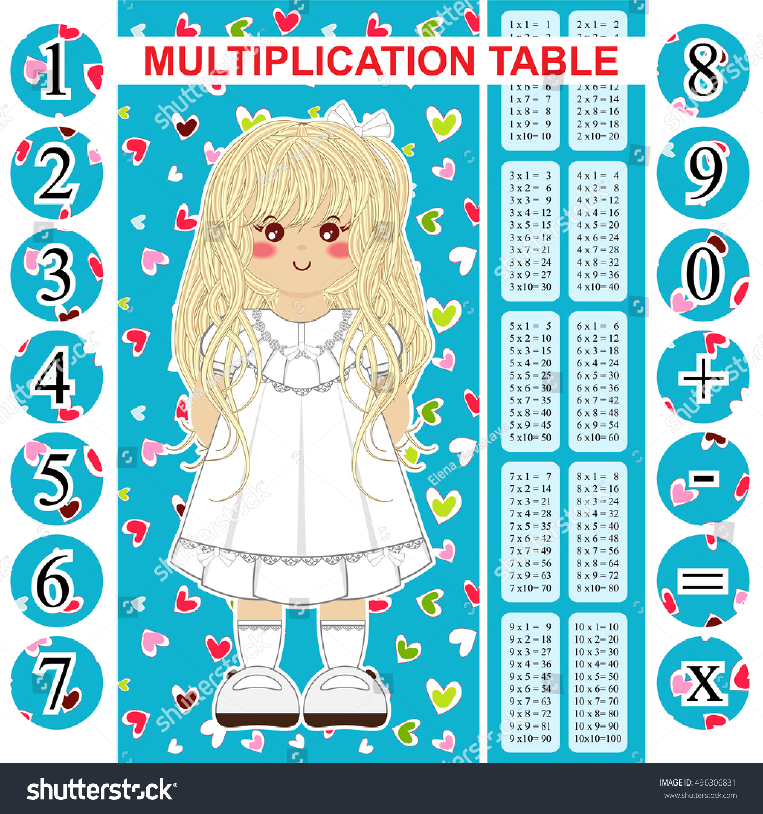 Vector multiplication table printable bookmark poster stock vector vector multiplication table printable bookmark poster and stickers with multiple tables and numbers gamestrikefo Image collections