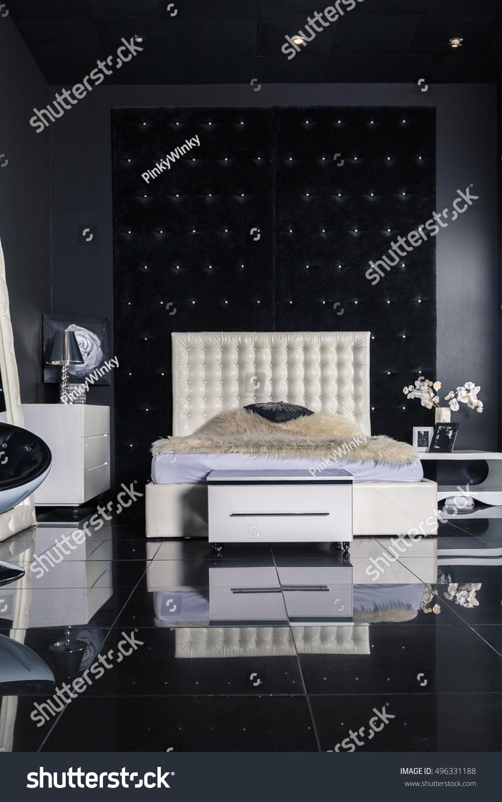 Modern Luxury Black White Interior Bedroom Stock Photo Edit Now 496331188