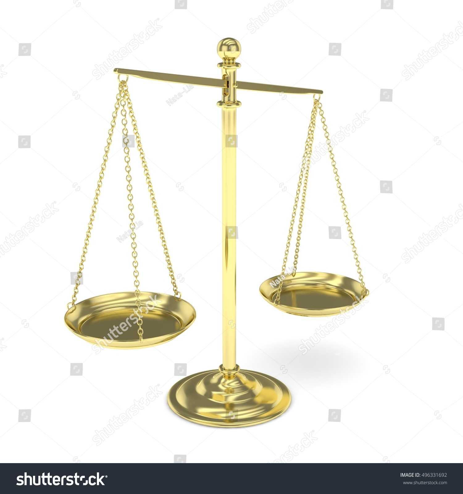 Isolated Golden Scales On White Background Symbol Of Judgement Law