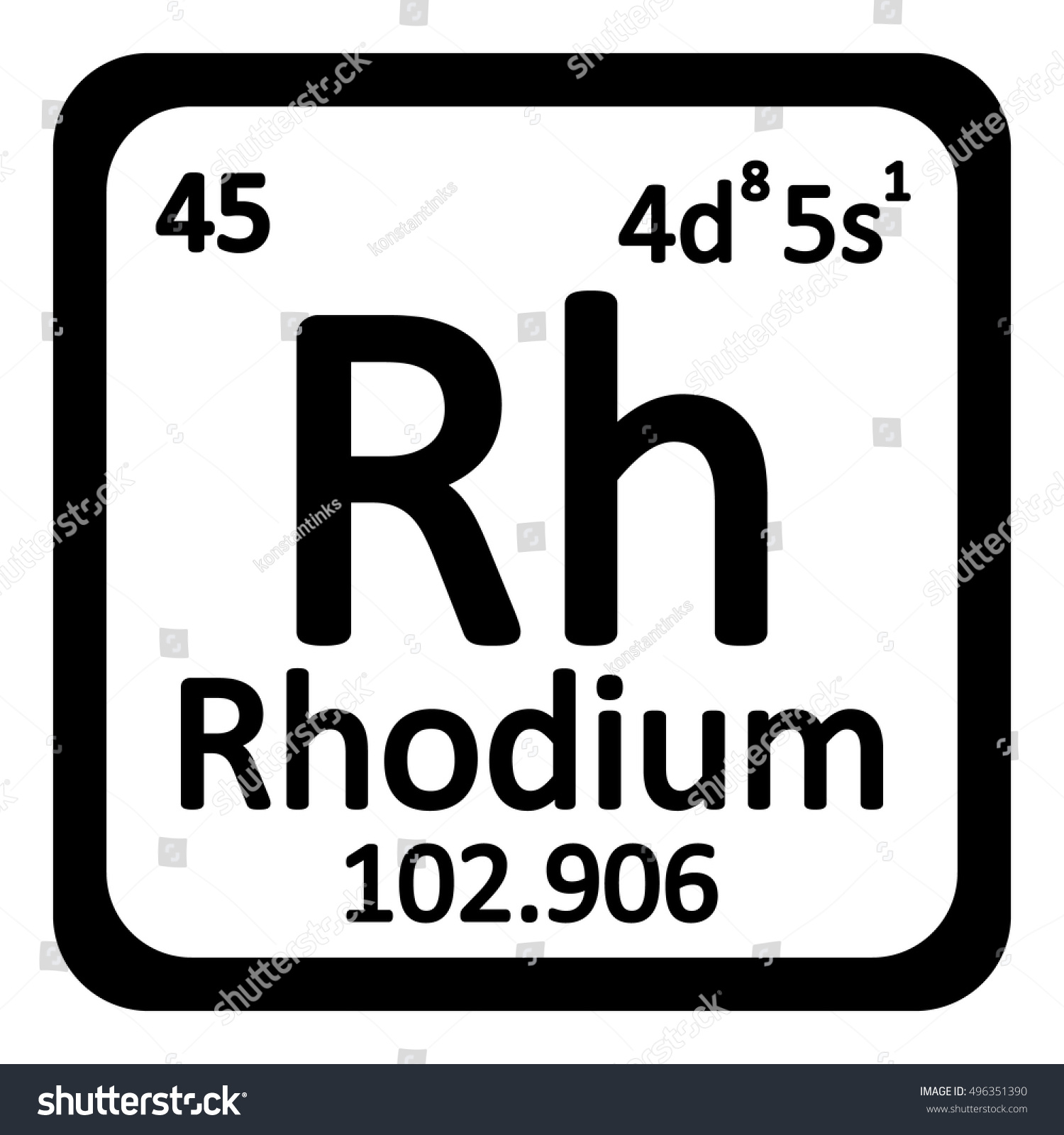 Periodic table element rhodium icon on stock vector 496351390 periodic table element rhodium icon on white background vector illustration gamestrikefo Image collections