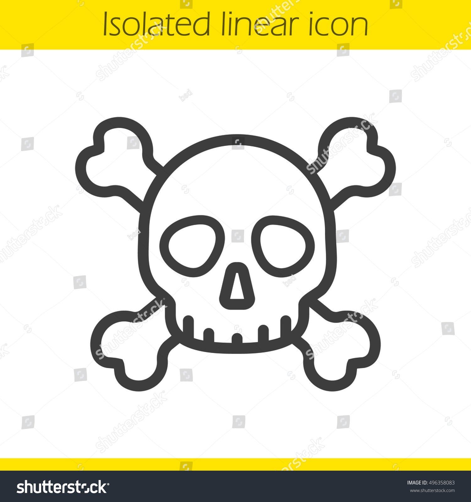 Skull Crossbones Linear Icon Death Sign Stock Vector Royalty Free 496358083