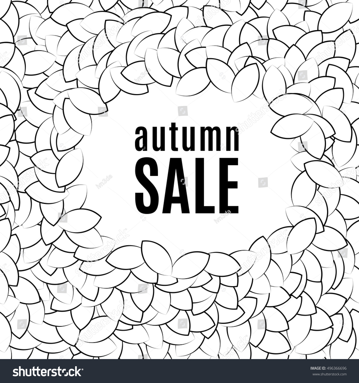Background Of A Pile Leaves Arranged In Circles Labeled Autumn Sale