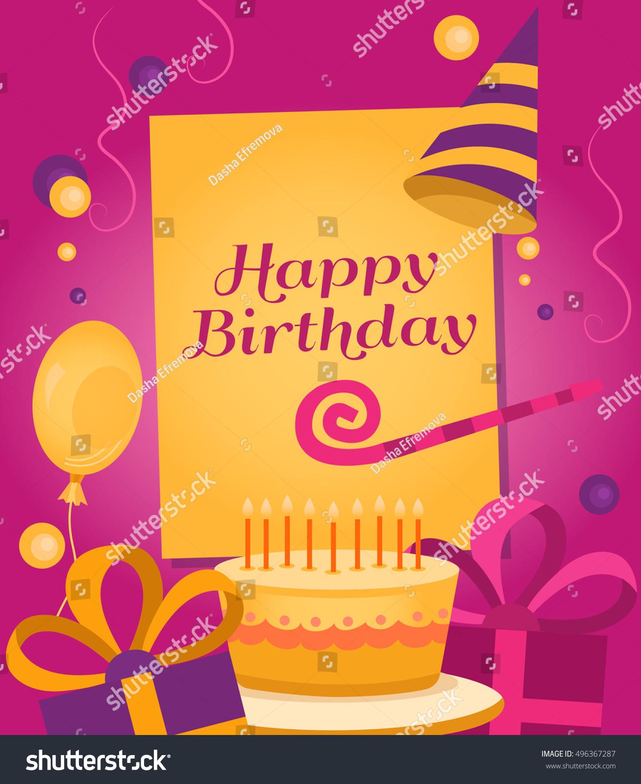 Happy Birthday Banner Gift Cake Balloon Stock Vector