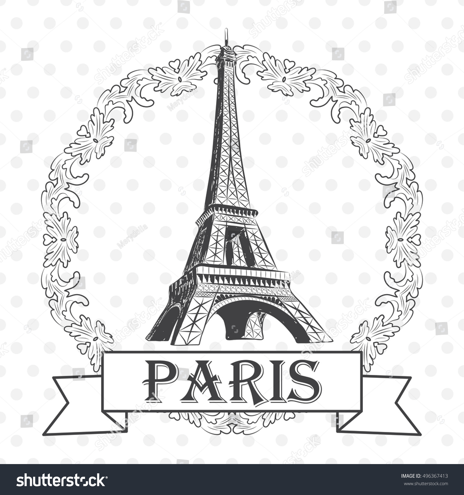 vector illustration eiffel tower round frame stock vector