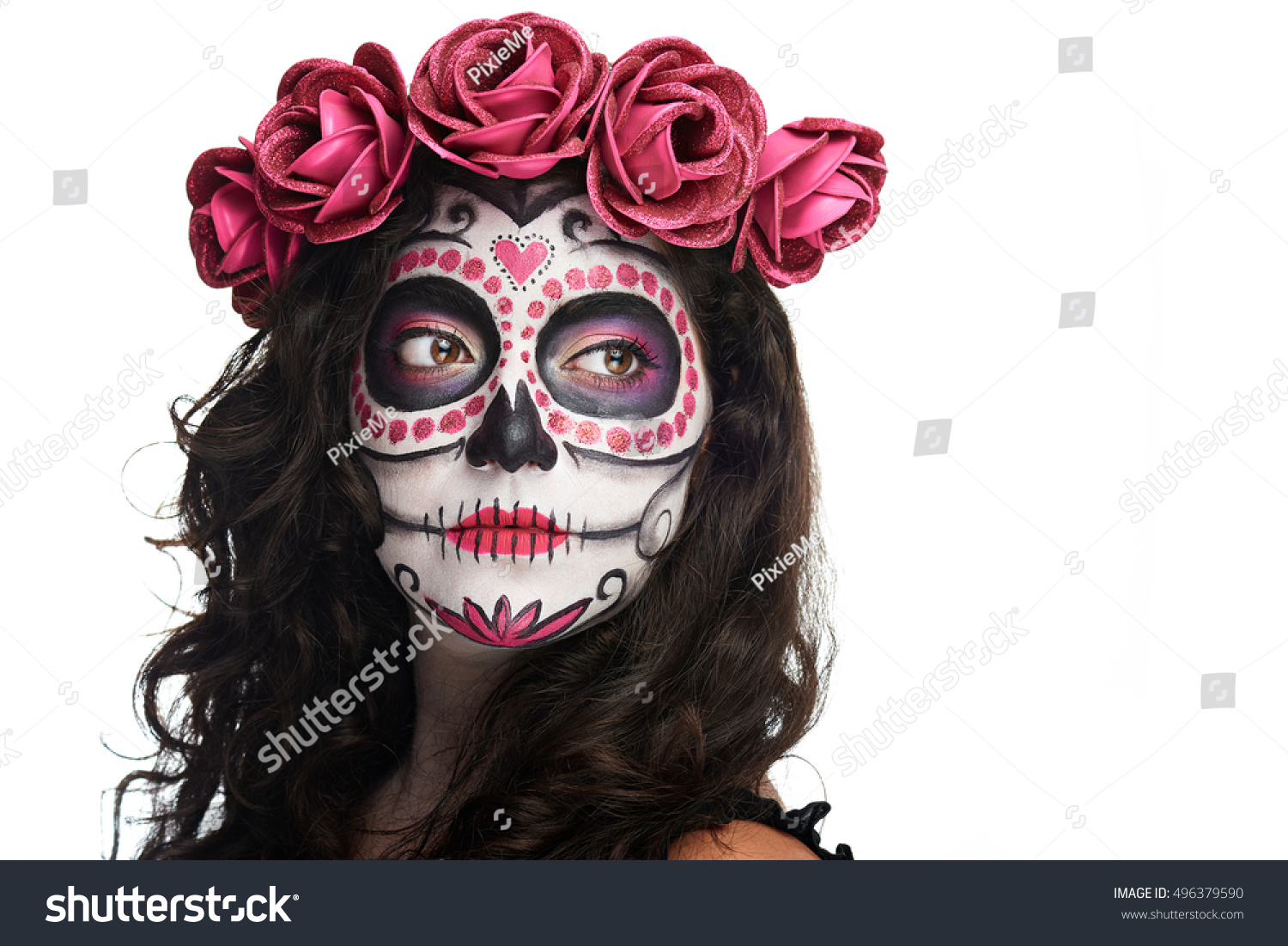 catrina skull makeup halloween isolated on stock photo 496379590 shutterstock. Black Bedroom Furniture Sets. Home Design Ideas