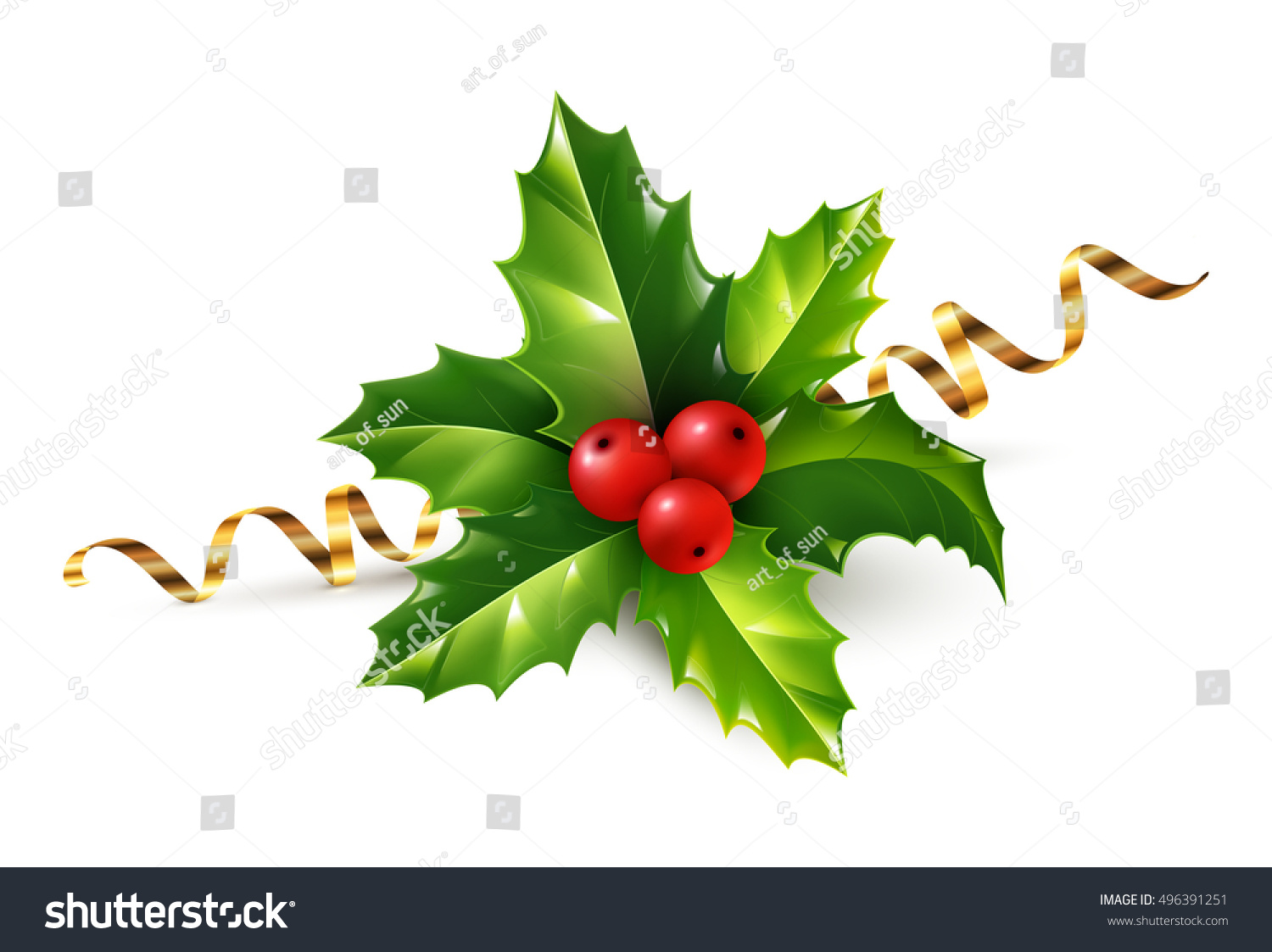 Vector Realistic Holly Christmas Ornament Holly Green Leaves And Red  Berries With Golden Serpentine Ribbon