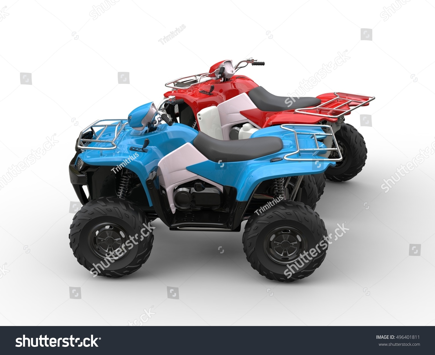 Red Blue Quad Bikes Side View Stock Illustration 496401811