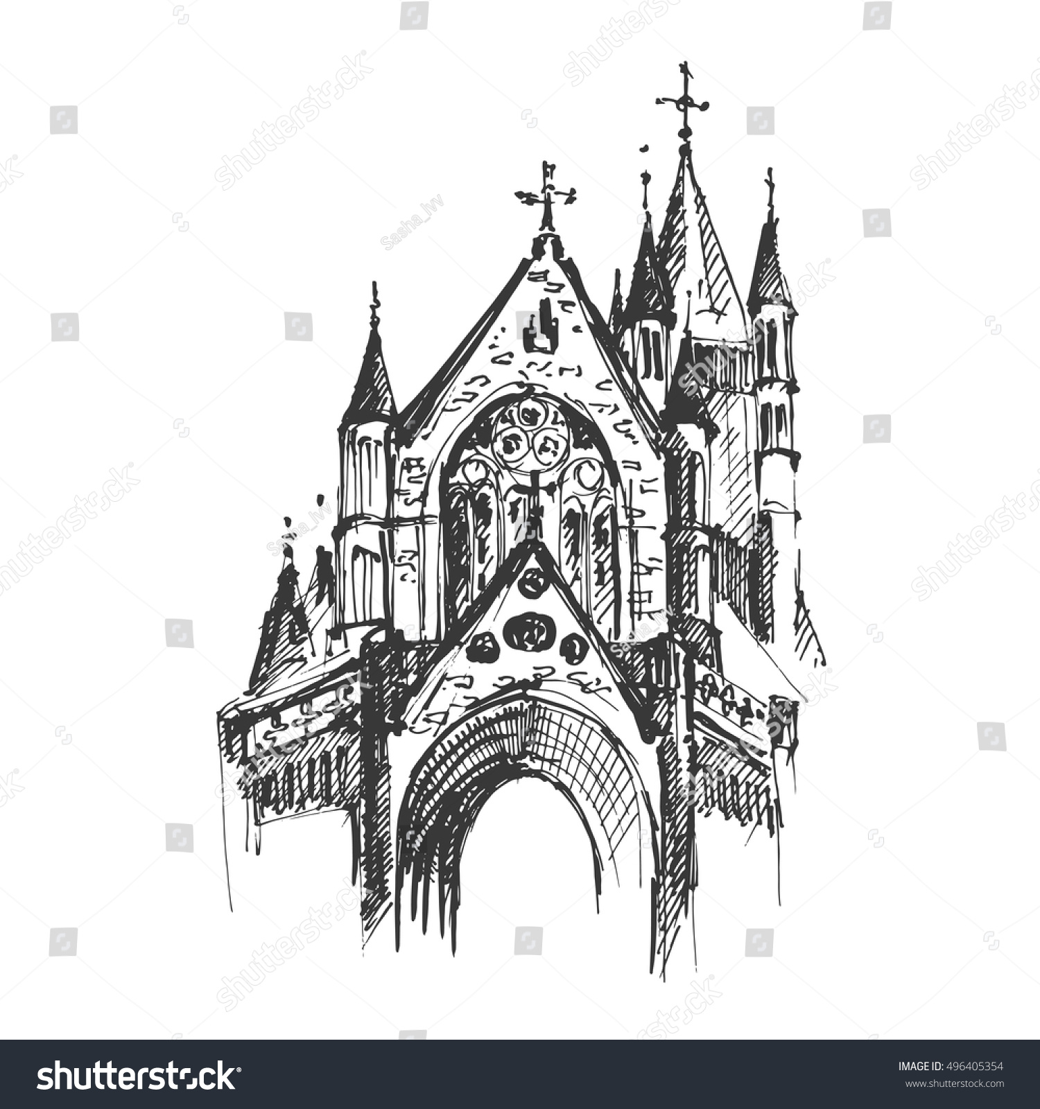 Hand Drawn Gothic Cathedral Vector Illustration 496405354
