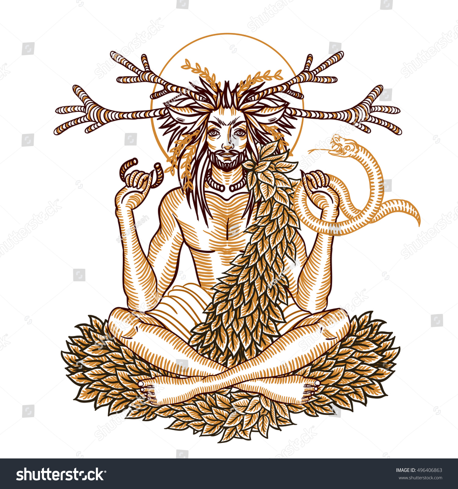 Engraving art wicca horned god cernunnos stock vector 496406863 engraving art of a wicca horned god cernunnos holding snake and wearing torc symbolic illustration biocorpaavc Choice Image
