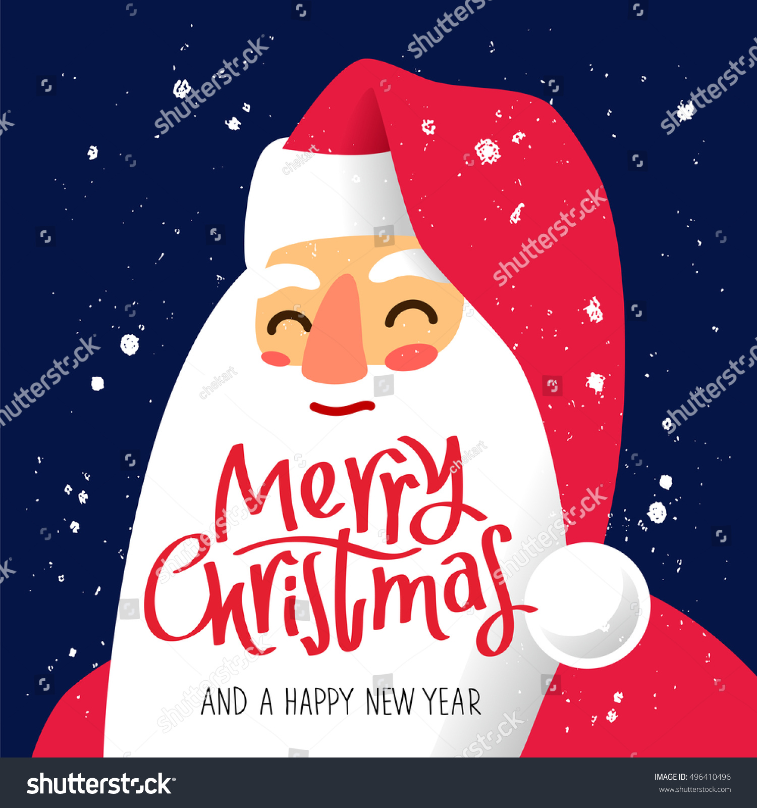 Portrait Of Santa Claus. Excellent New Yearu0027s Gift Card. Vector  Illustration On A Blue