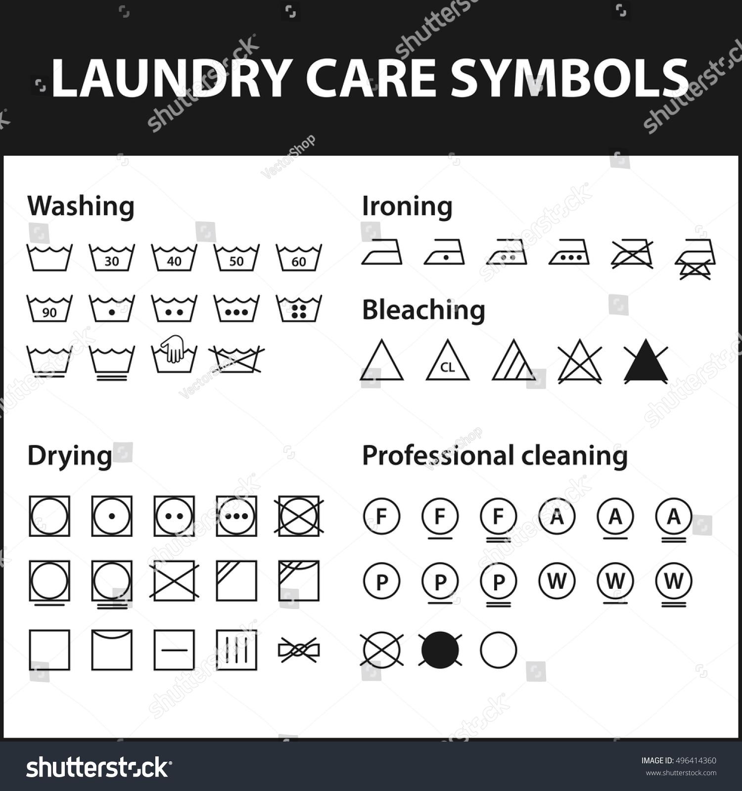 Icon Set Laundry Symbols Washing Instruction Stock Vector Royalty