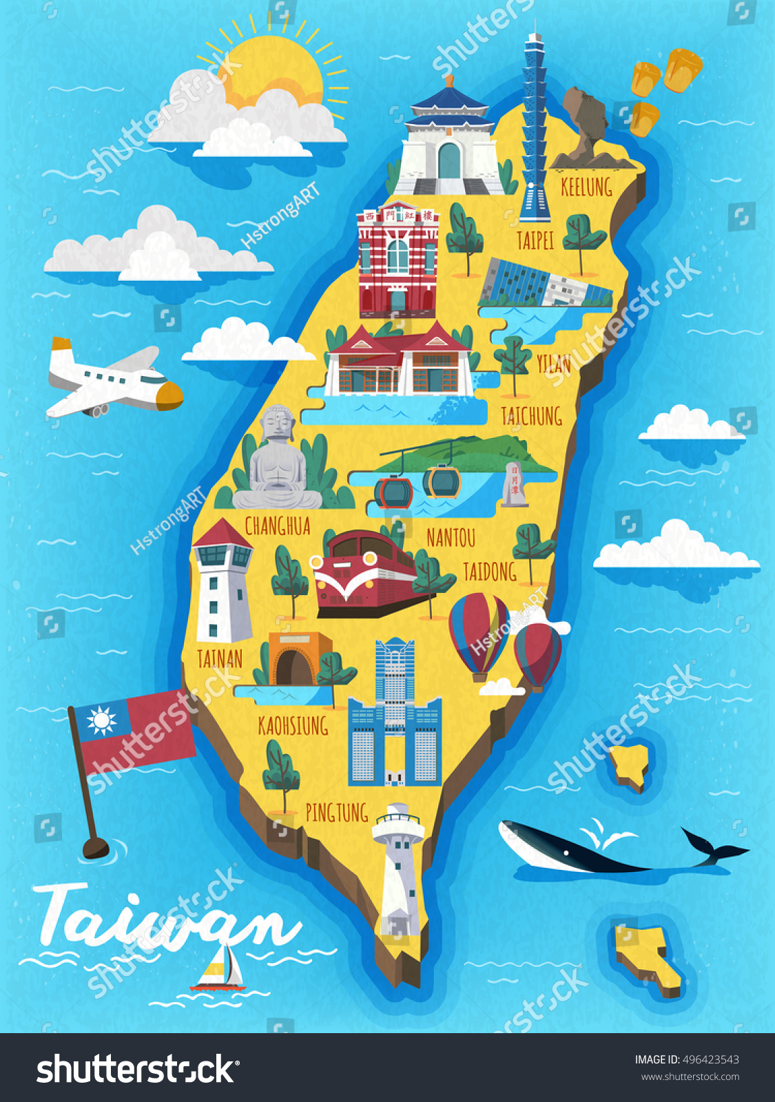 Taiwan travel map chinese words writing stock vector 496423543 taiwan travel map with chinese words writing the redhouse on the red building sciox Images