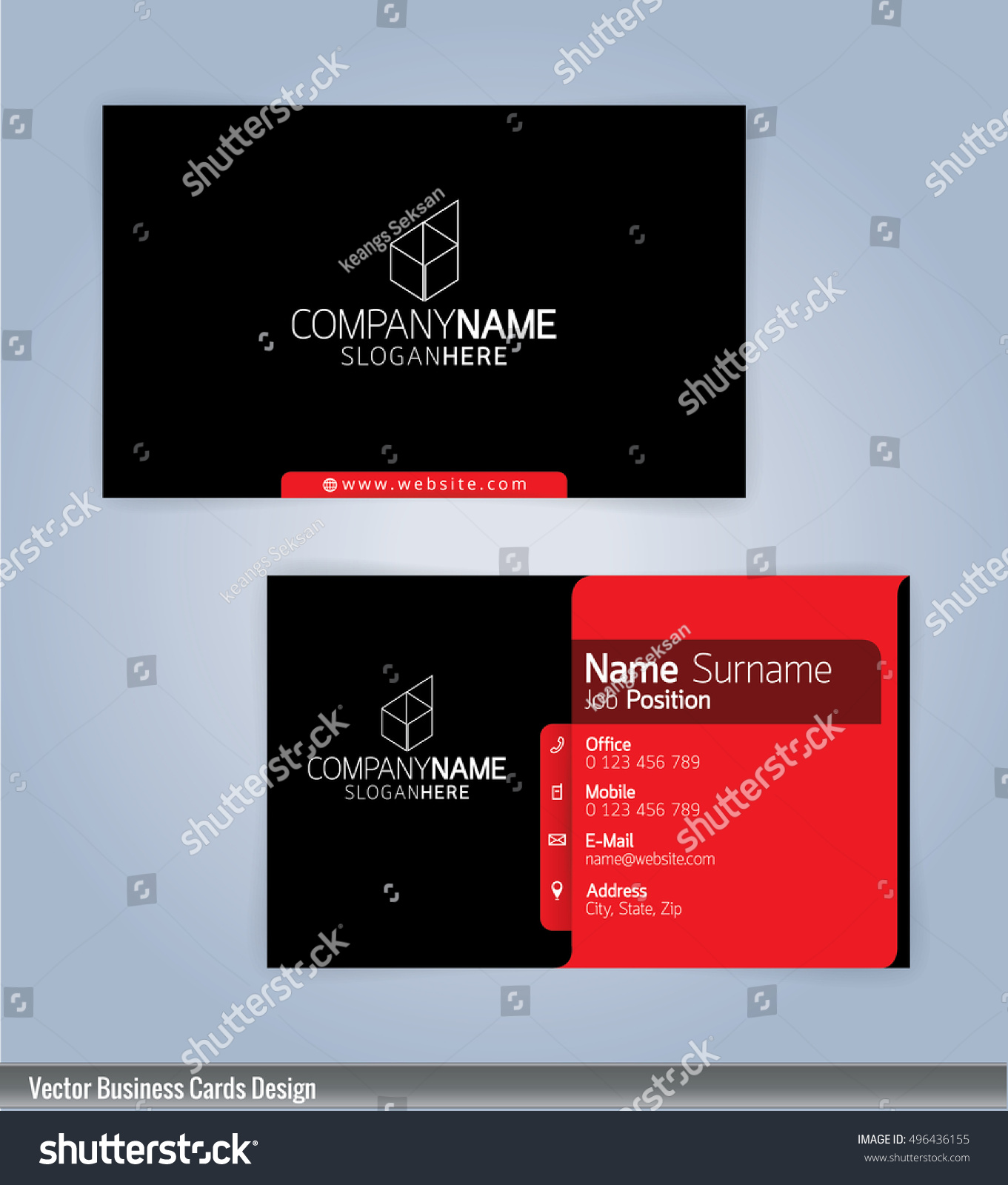 Modern Creative Clean Business Card Design Stock Vector 496436155 ...