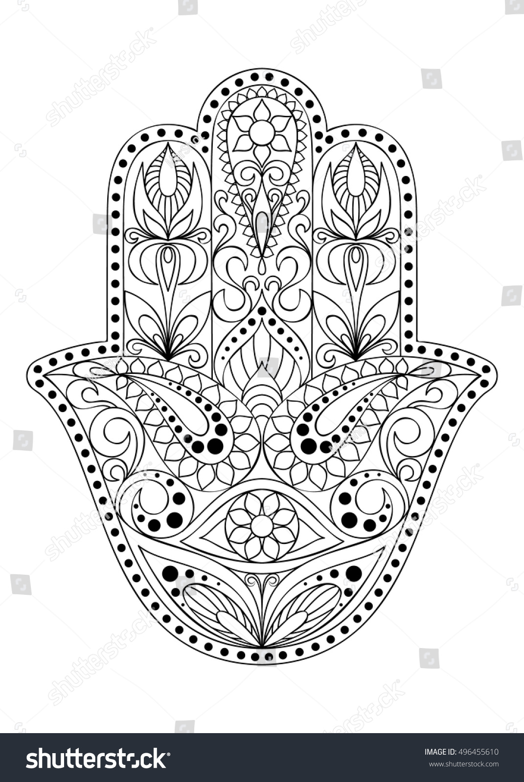 Hand drawn hamsa symbol eastern floral stock vector 496455610 hand drawn hamsa symbol with eastern floral ornament for adult coloring hand of fatima biocorpaavc Image collections