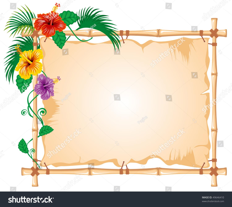 Bamboo Frame Worn Cloth Sign Tropic Stock Vector 49646410 ...