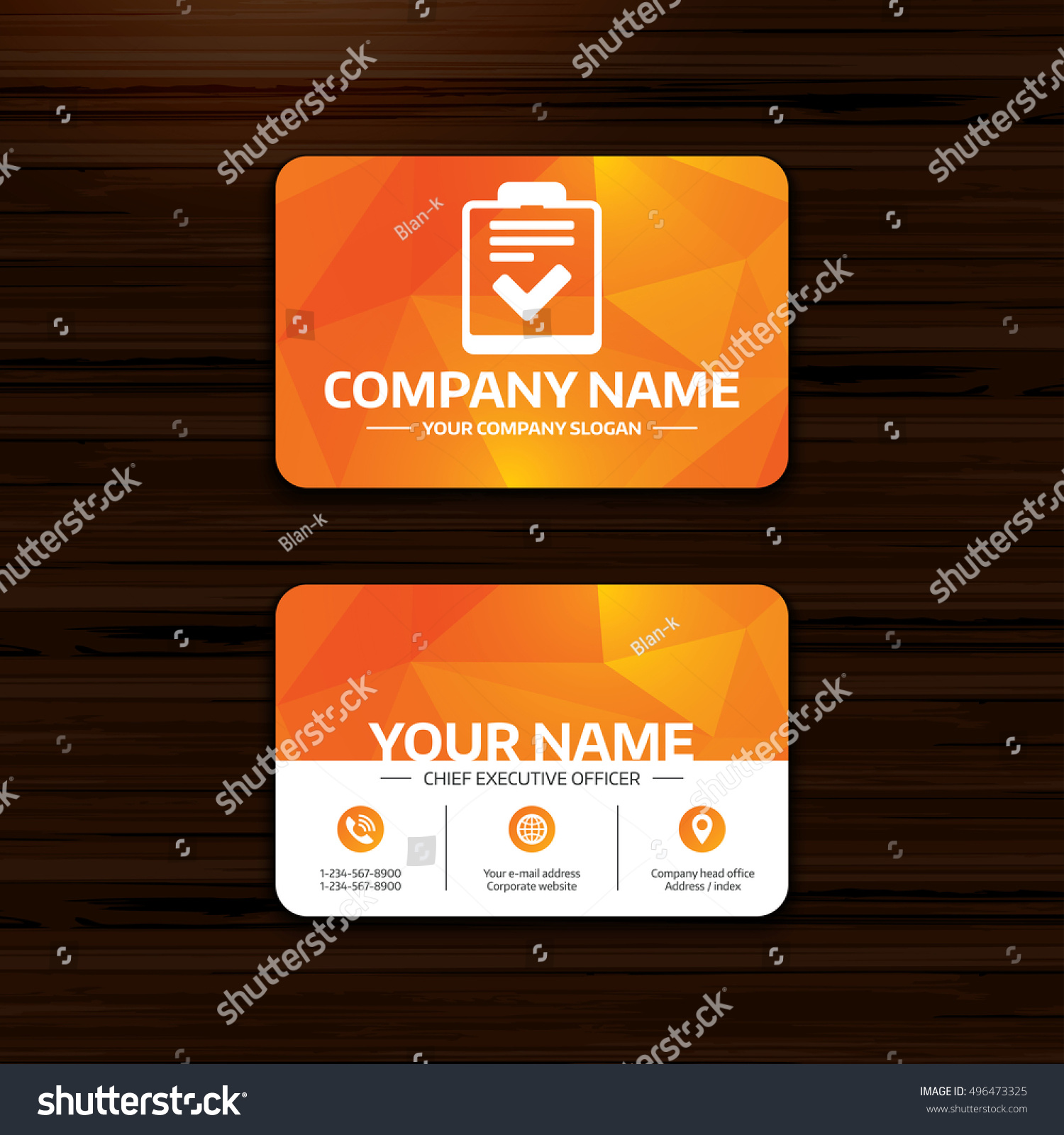 Business visiting card template checklist sign stock vector business visiting card template checklist sign stock vector 496473325 shutterstock reheart Choice Image