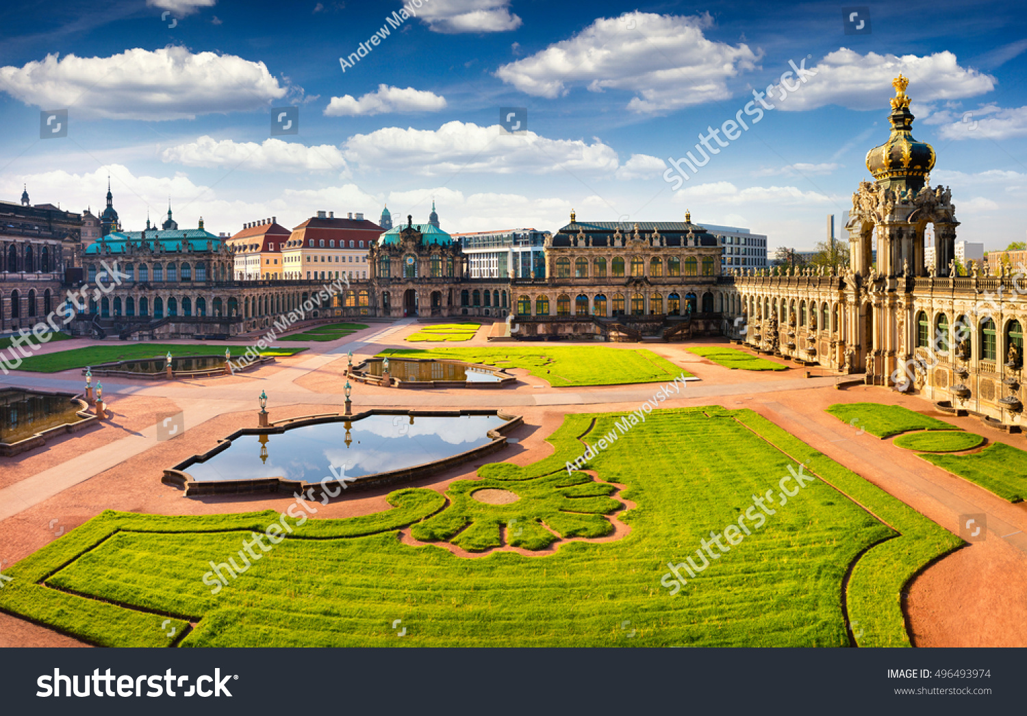 View from bird's eye of famous Zwinger palace Der Dresdner Zwinger Art Gallery of Dresden Colorful spring scene in Dresden Saxony Germany Europe Artistic style post processed photo