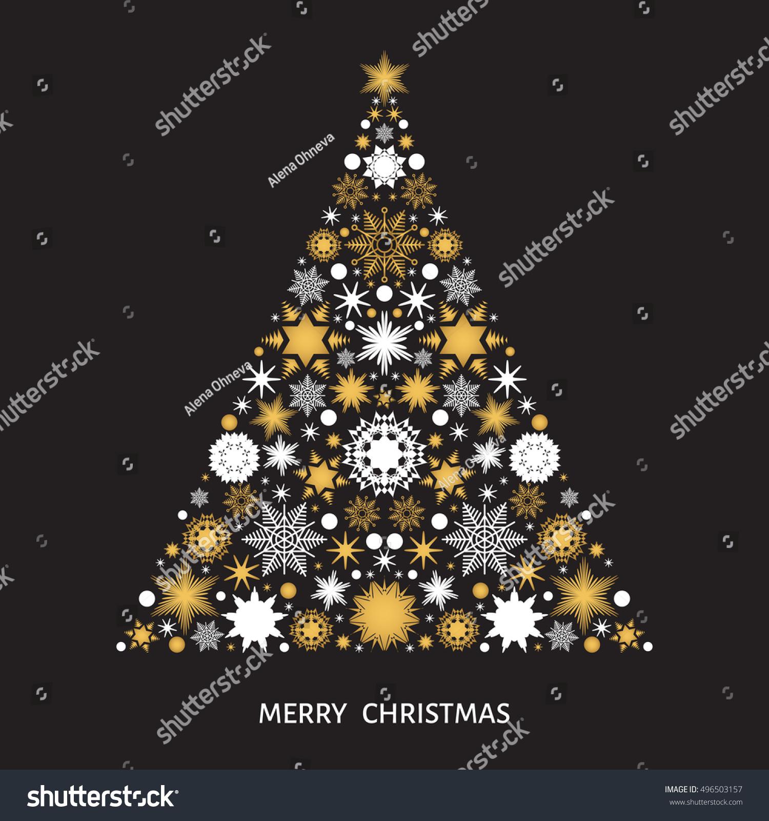 Christmas Tree Decoration Elements: Christmas Tree Gold White Snowflakes Xmas Stock Vector