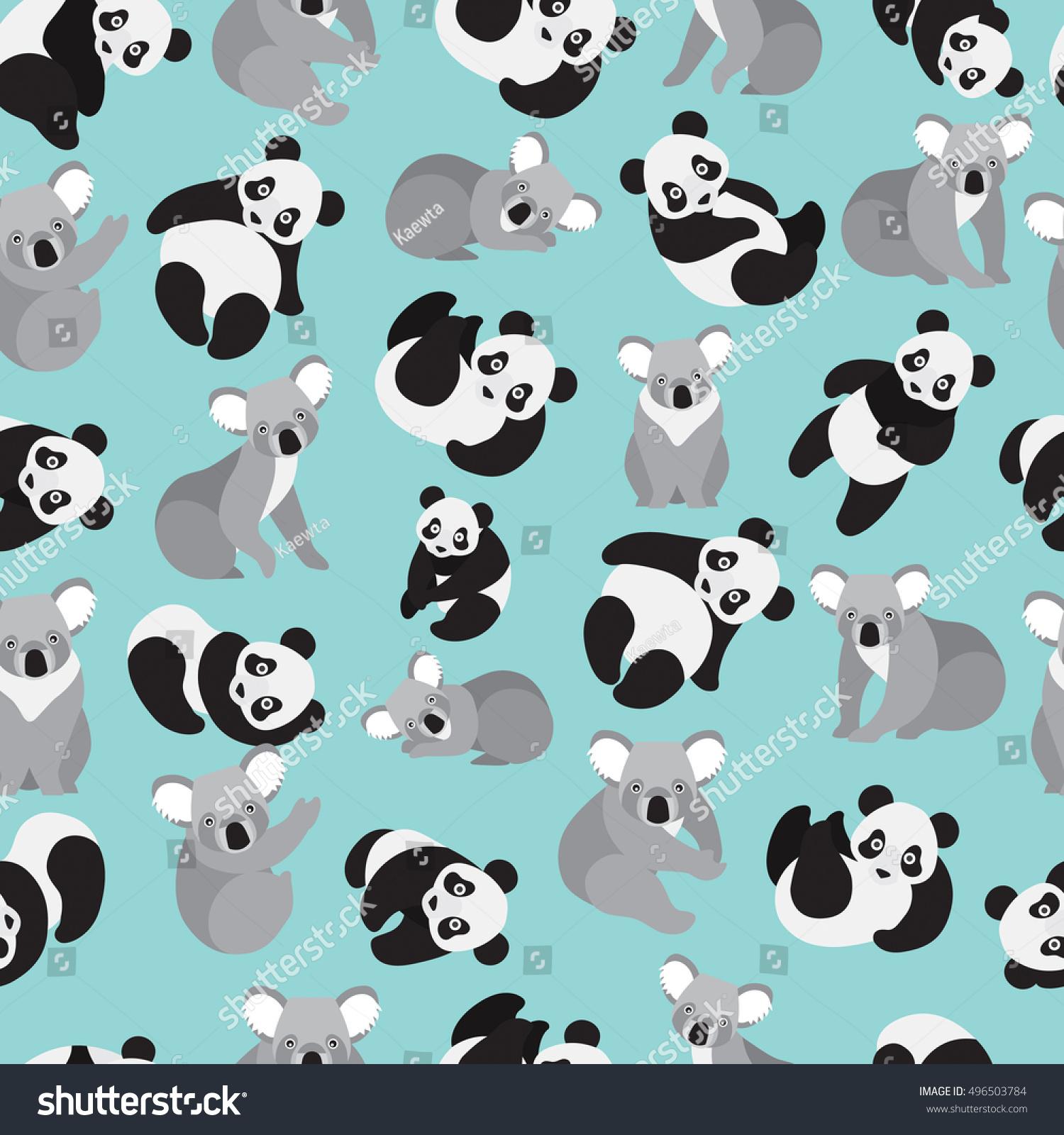 Good Wallpaper Koala Cartoon - stock-vector-cute-panda-and-koala-on-green-background-pattern-animal-seamless-pattern-design-496503784  Gallery_30516   .jpg