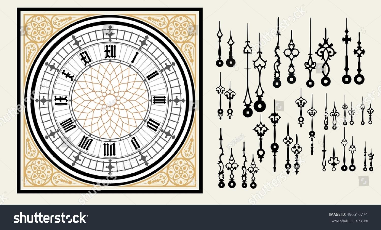 Vintage Clock Dial Set Hands Victorian Stock Photo (Photo, Vector ...