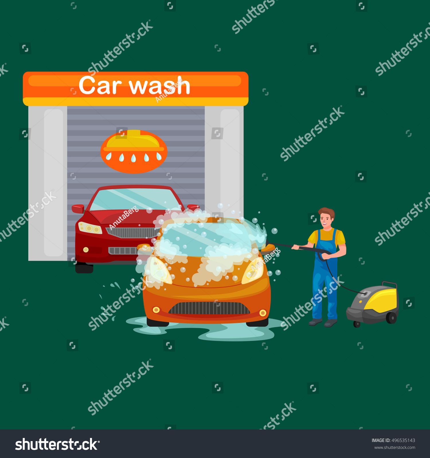 car wash services auto cleaning water stock vector 496535143 shutterstock. Black Bedroom Furniture Sets. Home Design Ideas