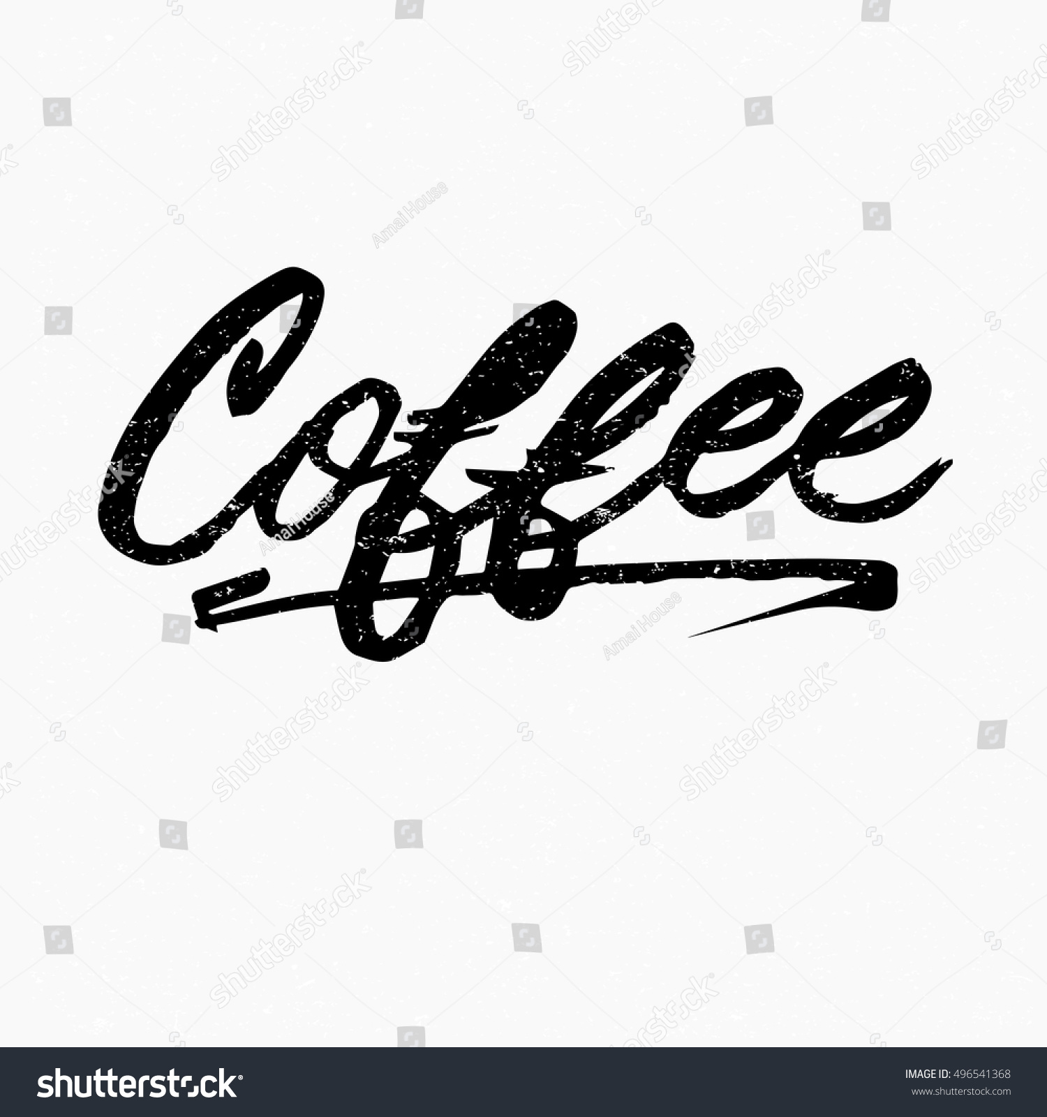 Coffee Ink Hand Lettering Modern Brush Stock Vector
