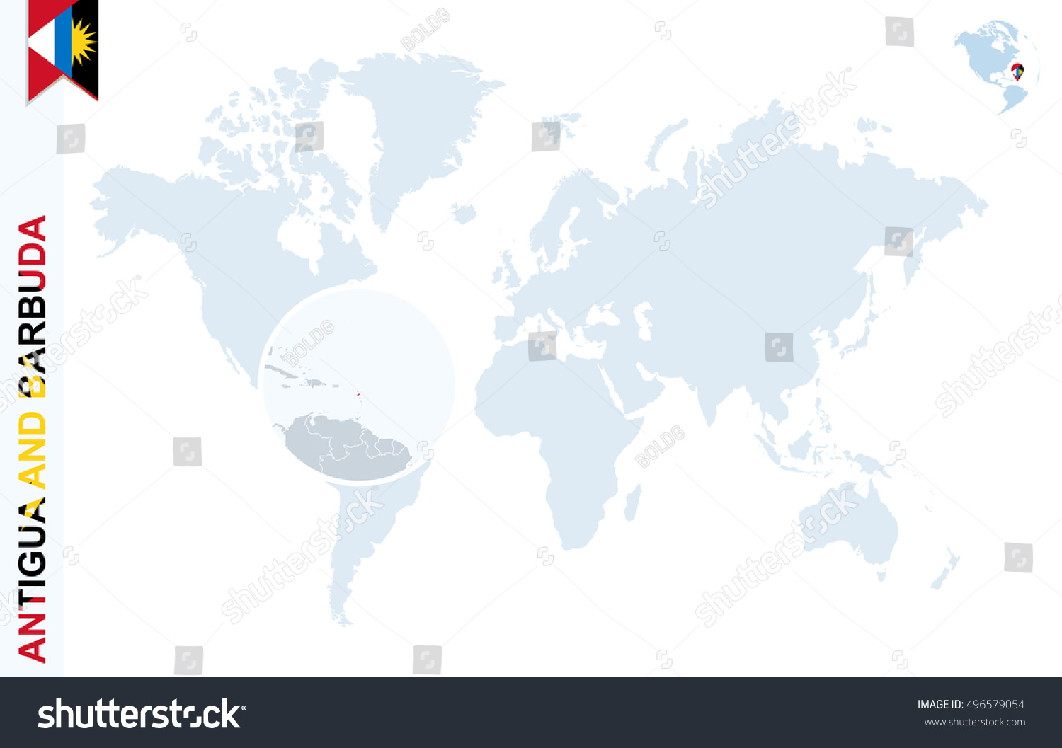 Antigua And Barbuda World Map.Royalty Free Stock Illustration Of World Map Magnifying On Antigua