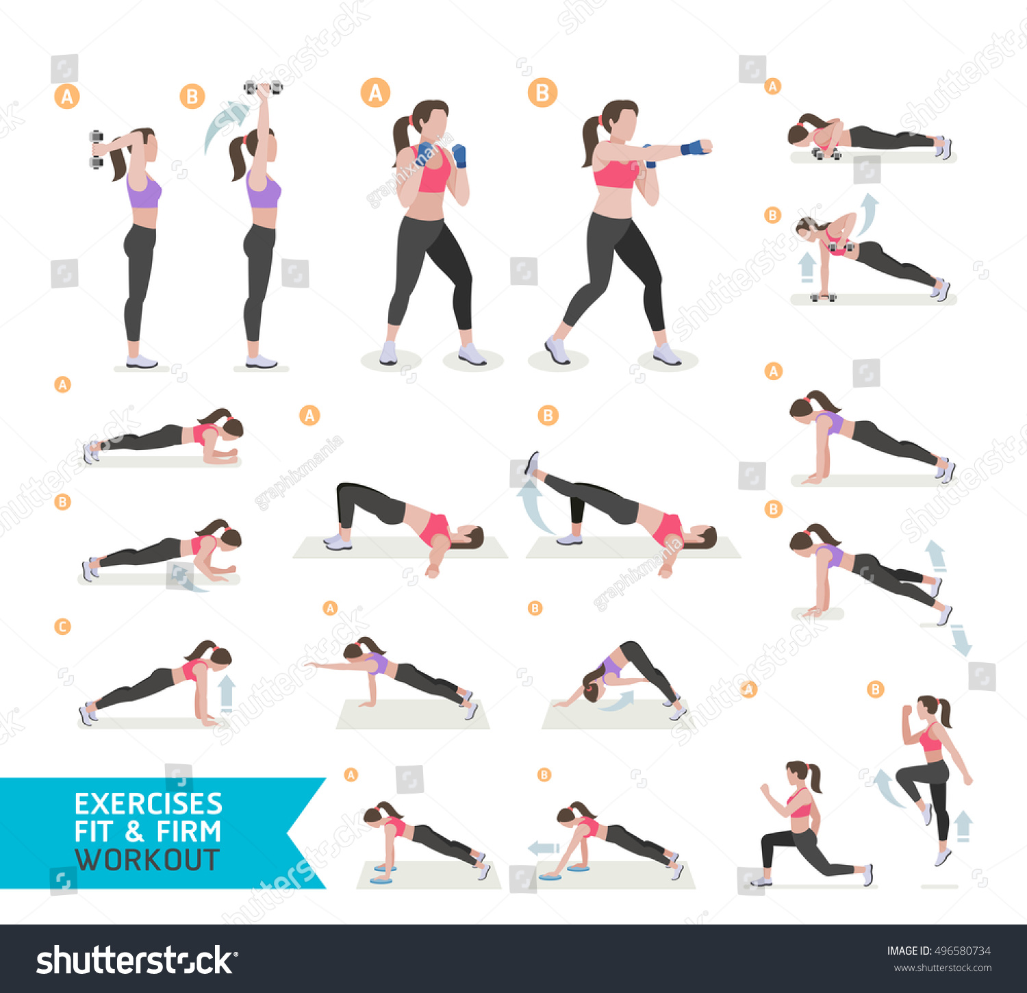 Woman Workout Fitness Cardio Boxing Aerobic Stock Vector ...