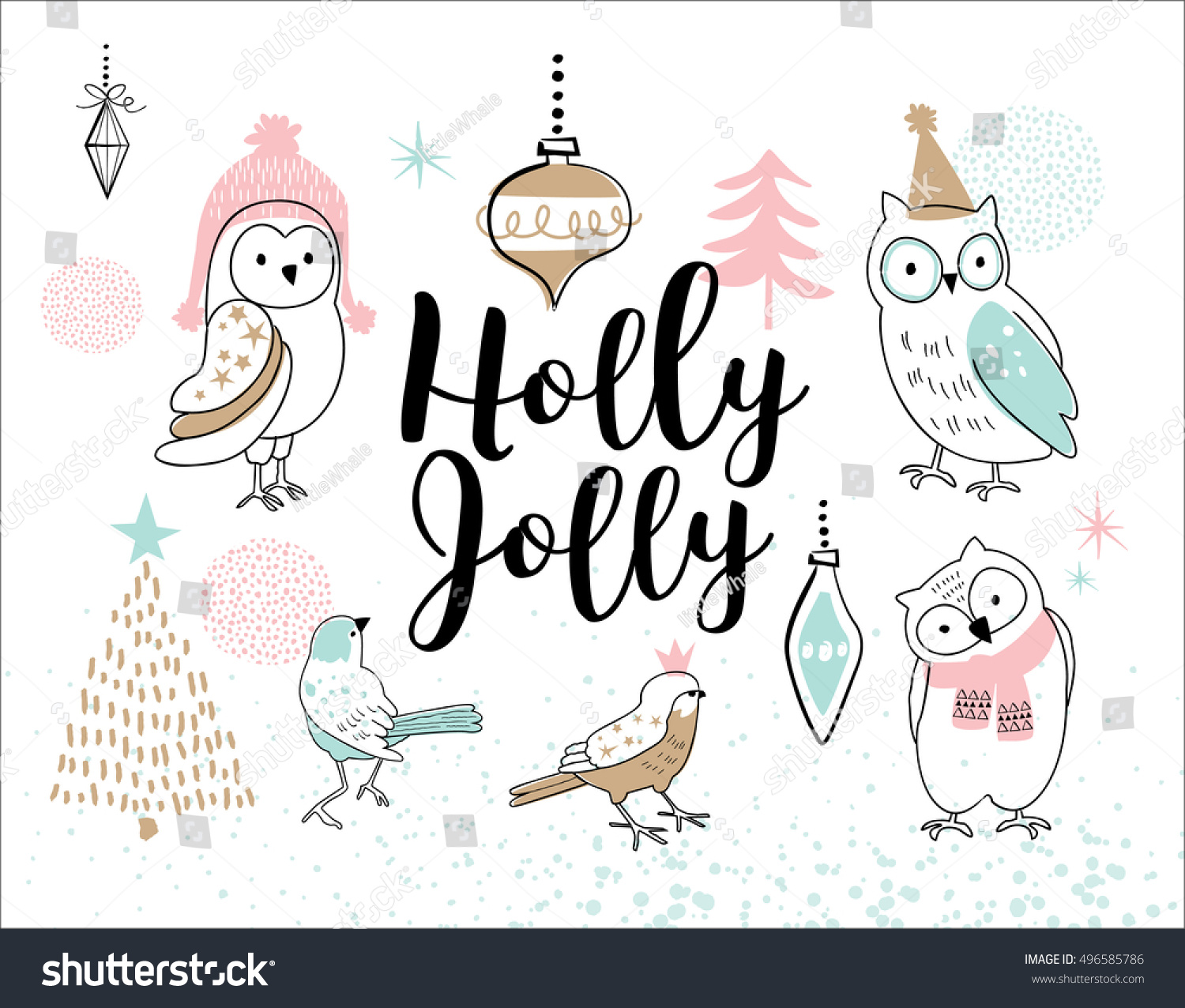Hand Drawn Christmas Card Cute Little Stock Vector (Royalty Free ...