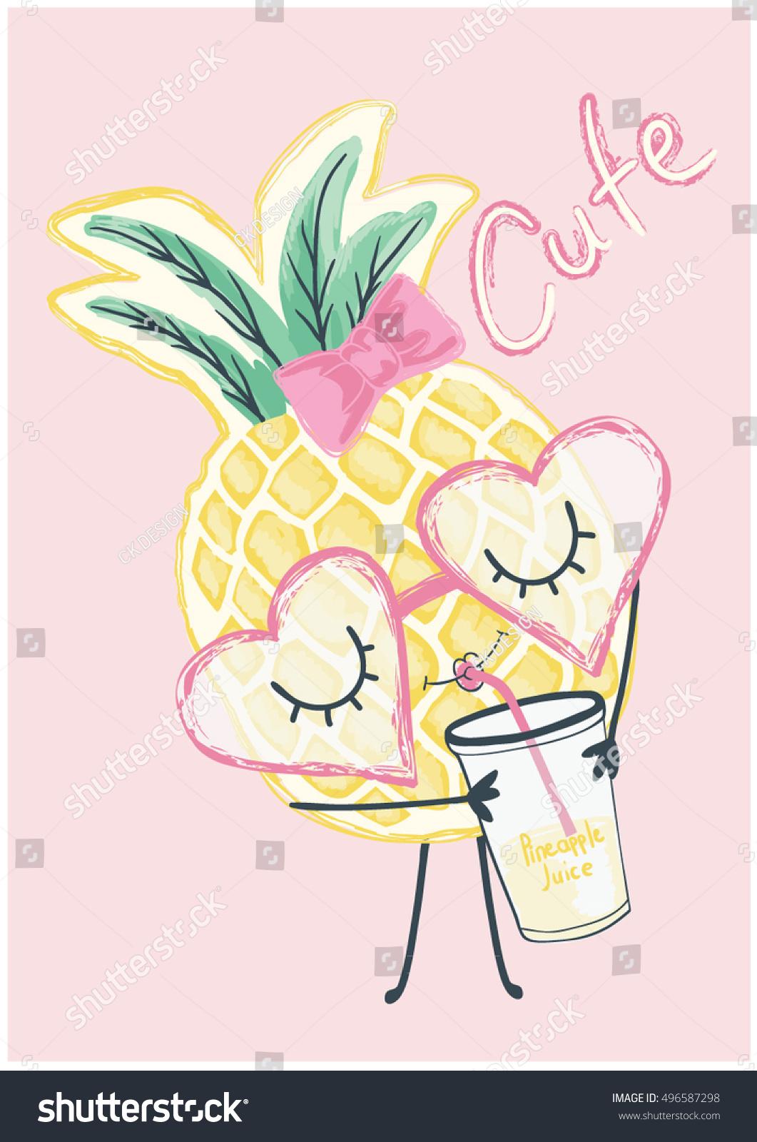 Ananas Rysunek ilustracja ładny ananas grafika na koszulkę wektorowa