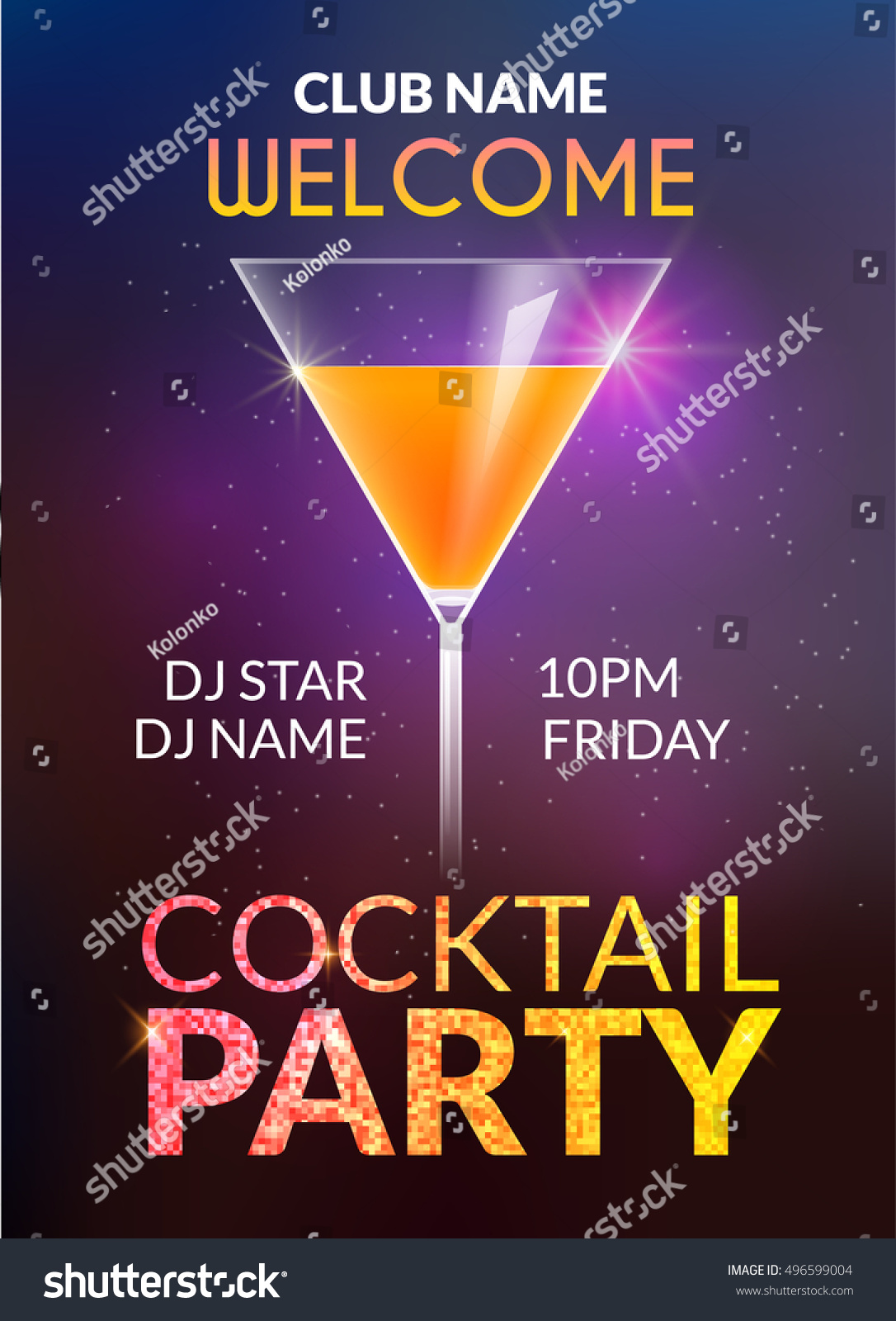 cocktail invitation design poster cocktail party stock vector