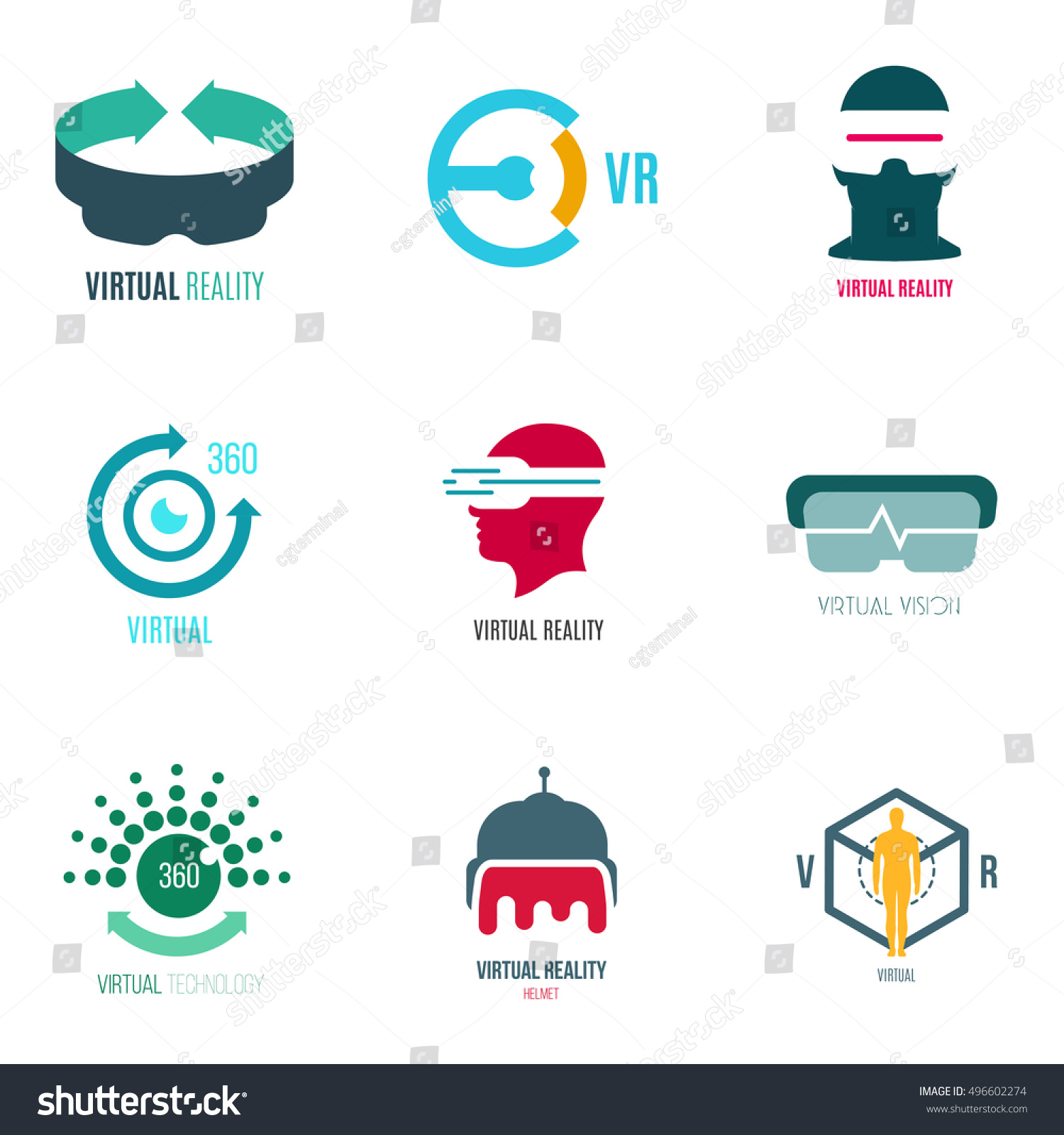 Icon Logo Template Virtual Reality Future Stock Vector