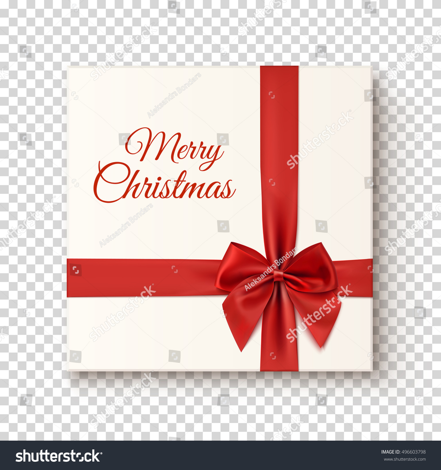 Merry christmas greeting card template realistic stock vector merry christmas greeting card template realistic gift icon on transparent background top view kristyandbryce Image collections