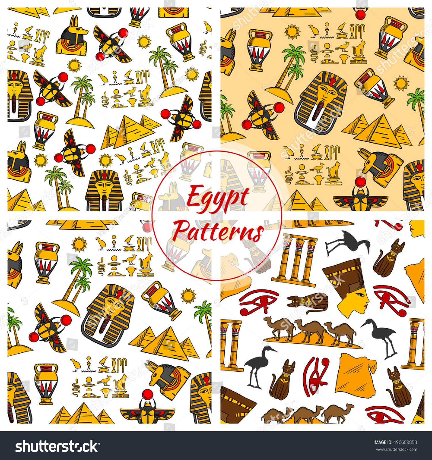 Egypt Patterns Vector Pattern Egypt Cultural Stock Vector Royalty