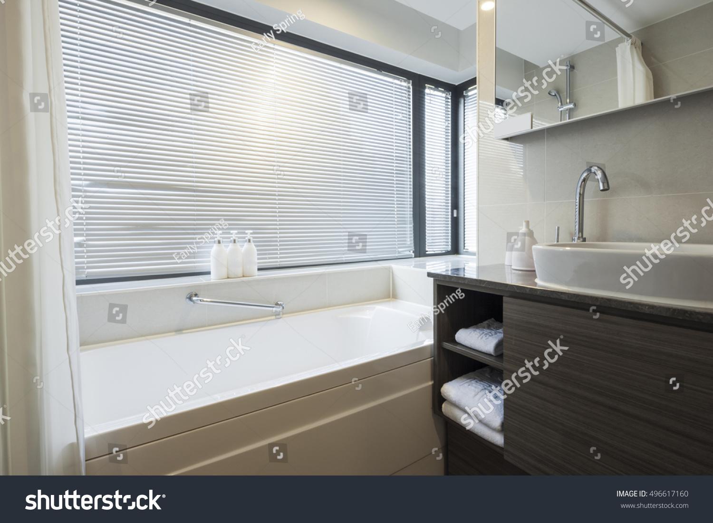 Hotel Bathroom Blind Sinkbasin Bathtubbath Lighting Stock Photo ...