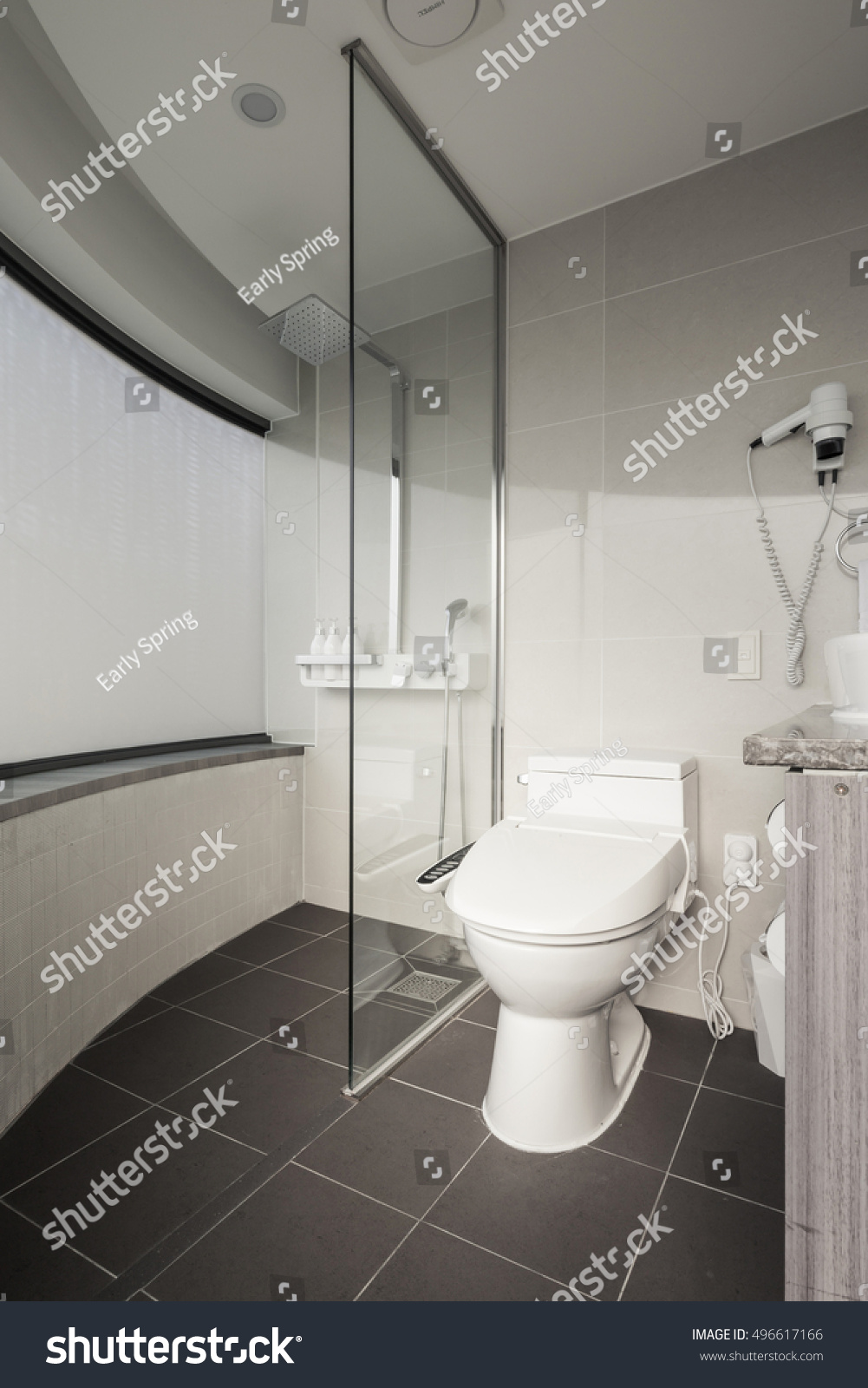 Hotel Bathroom Toileturinal Bedpan Shower Lighting Stock Photo ...